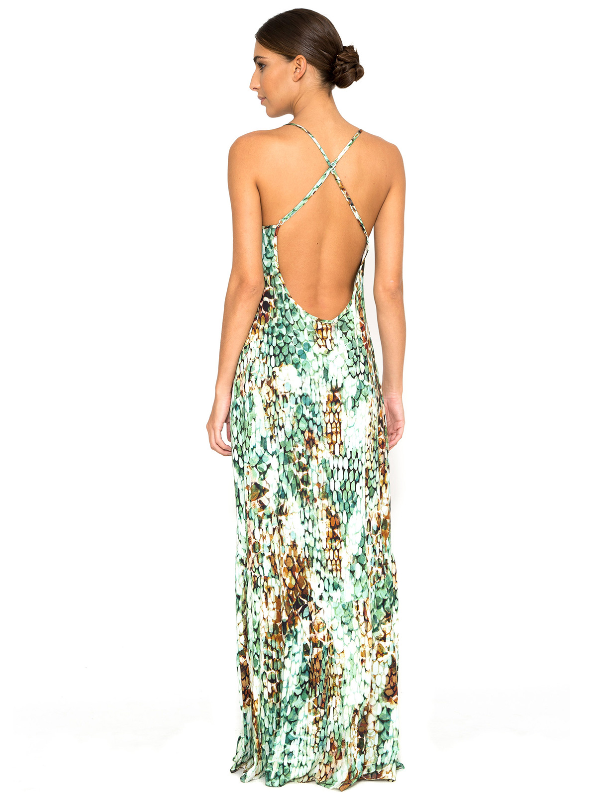 Long Beach Dress With Snake Print And Cross-over Back - Long Dress ...