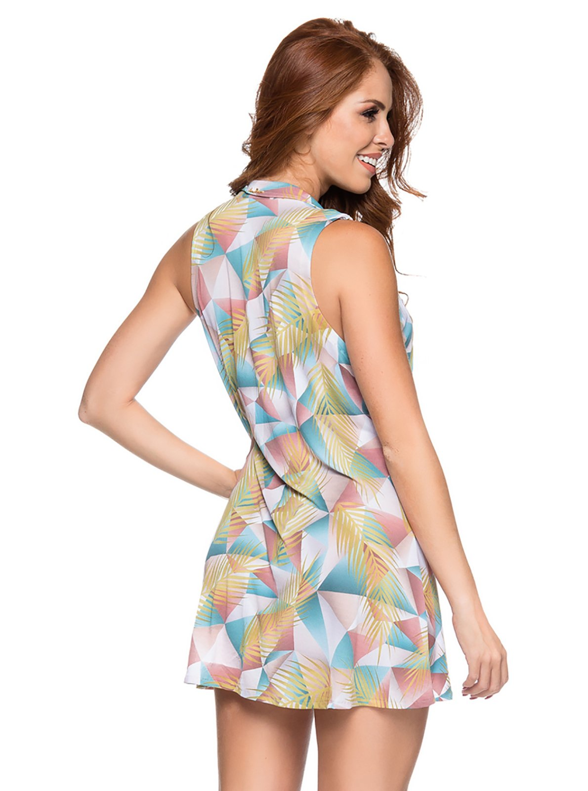 057da62de2 ... Geometric pastel shirt sleeveless dress - REGATA GOLA GEOMETRIC ART