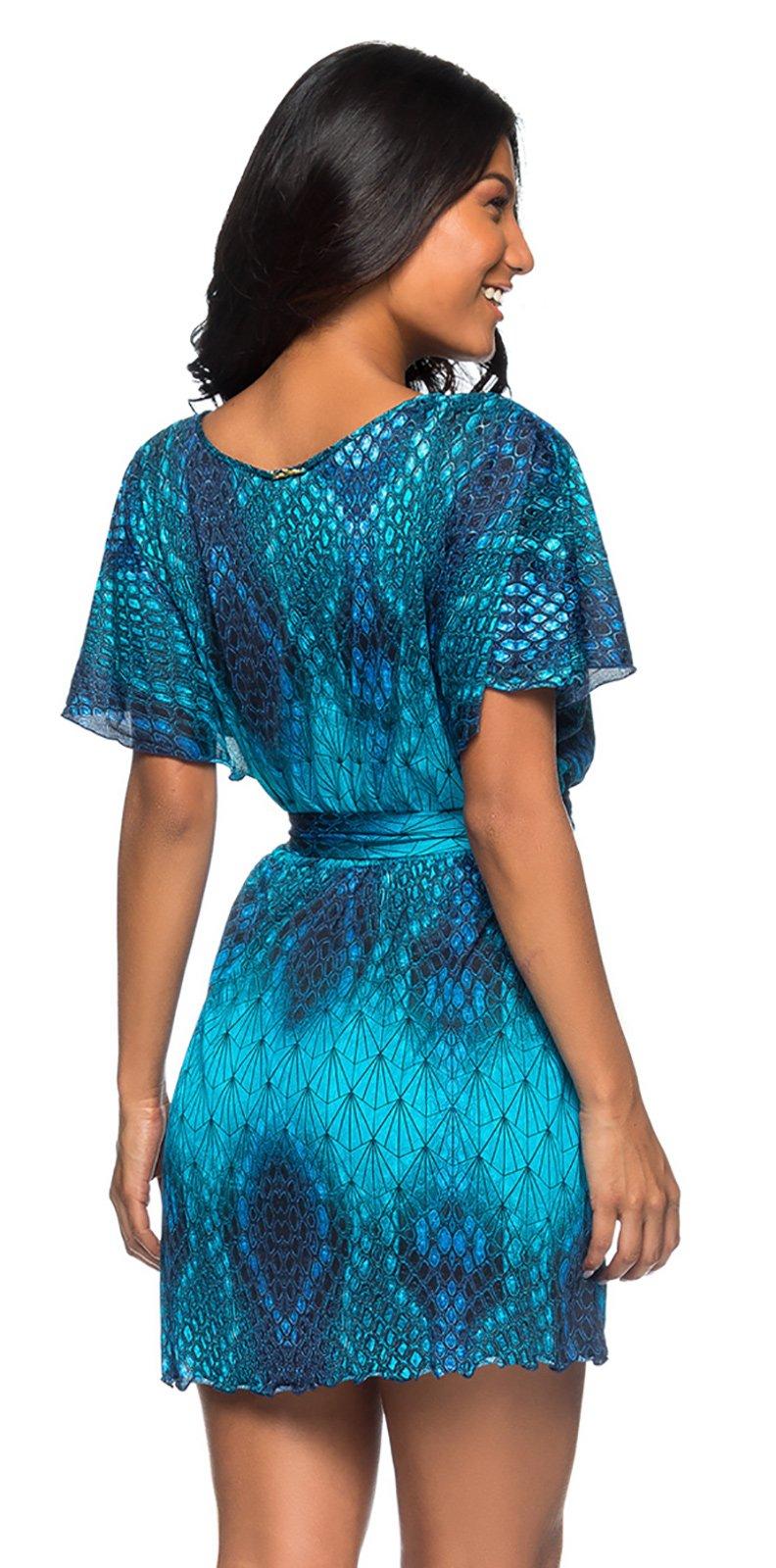 18043756ff0 Dress Short Wallet Dress With A Blue Print - Vestido Diamond