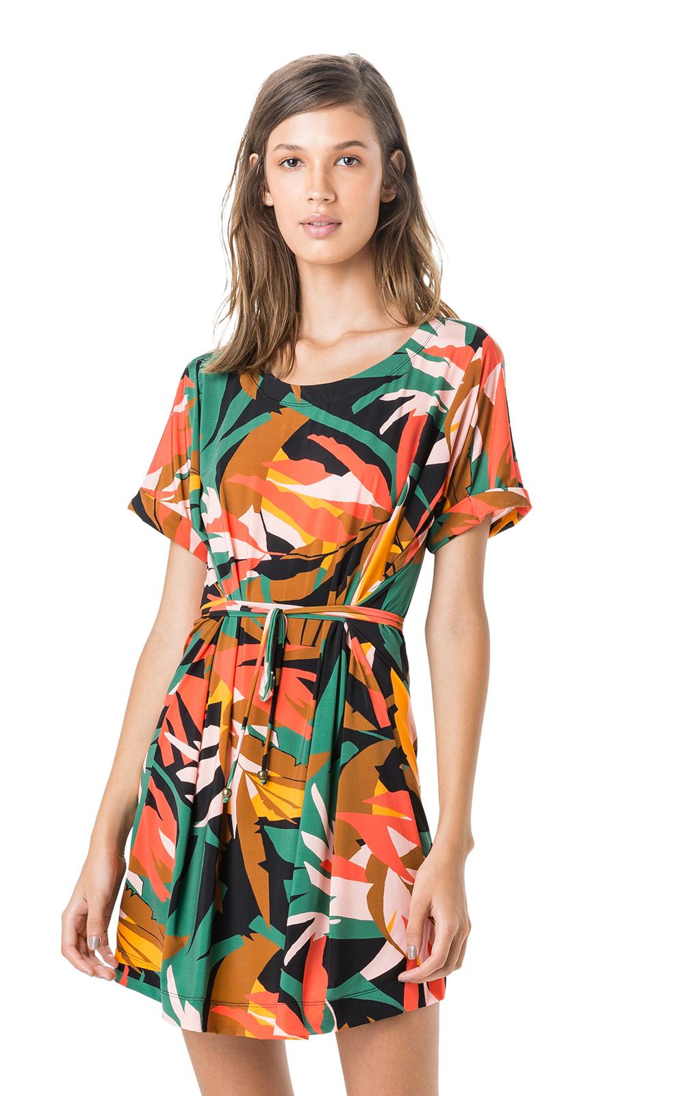 a3de074b82 Kolorowa Letnia Sukienka Z Krótkim Rękawem - Kaftan Ajuste RolotĘ ...