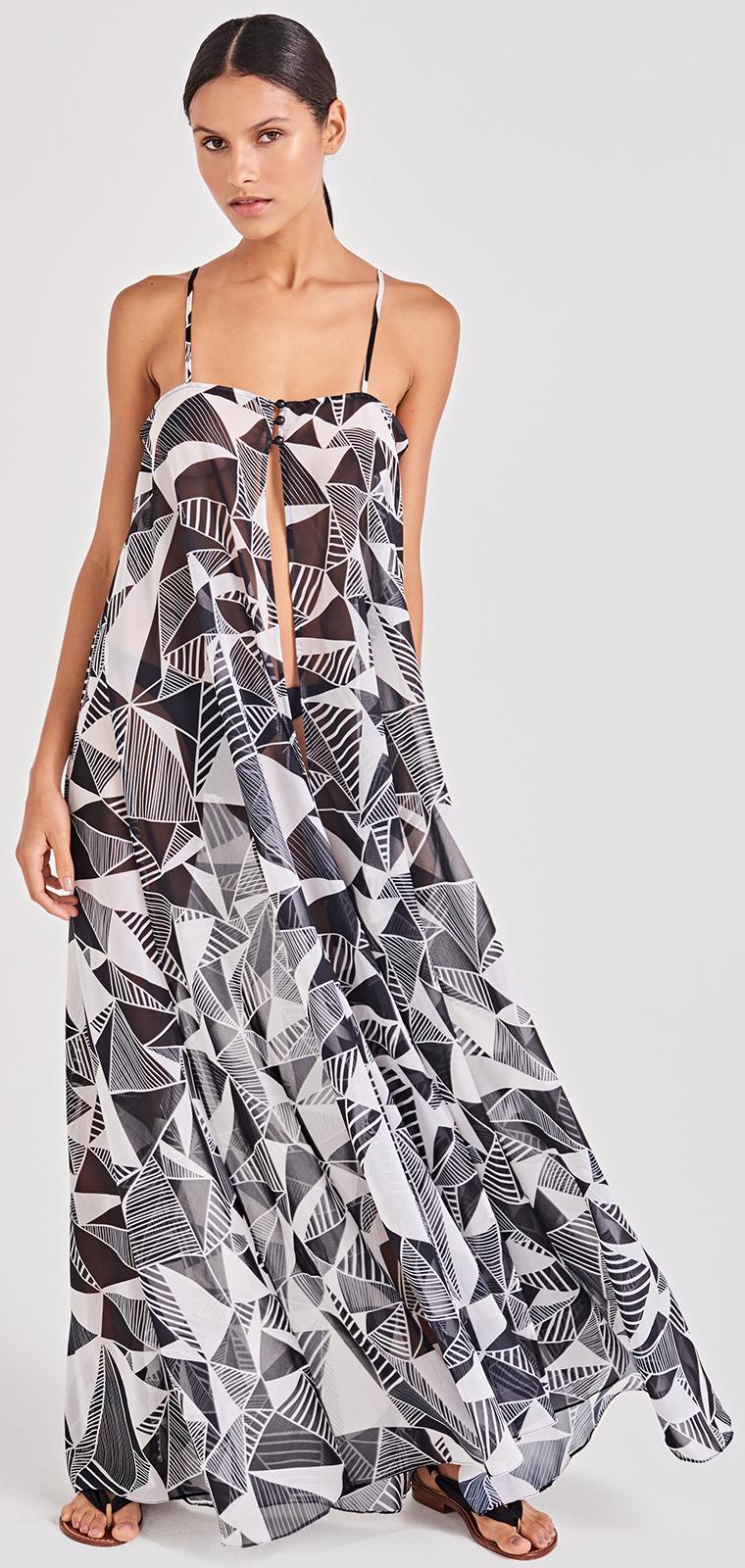 size 40 52c0c e523c Vestito Lungo Da Spiaggia Bianco E Nero Geometrico - Leve Umbrellas