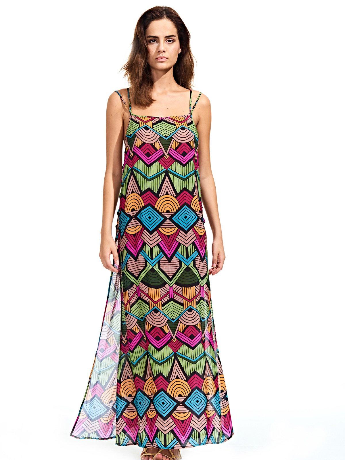 la mejor actitud 18351 14478 Vestido De Playa Largo Con Aberturas Laterales Y Calados - Tribal Colorido