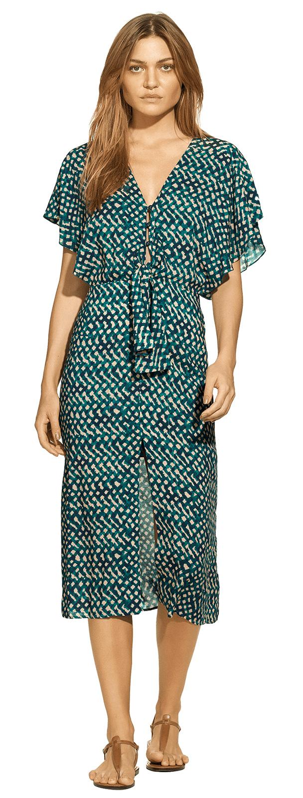 98cbda50766a Luxurious Belted Green Print Beach Dress - Ali Midi Dress Nias - VIX