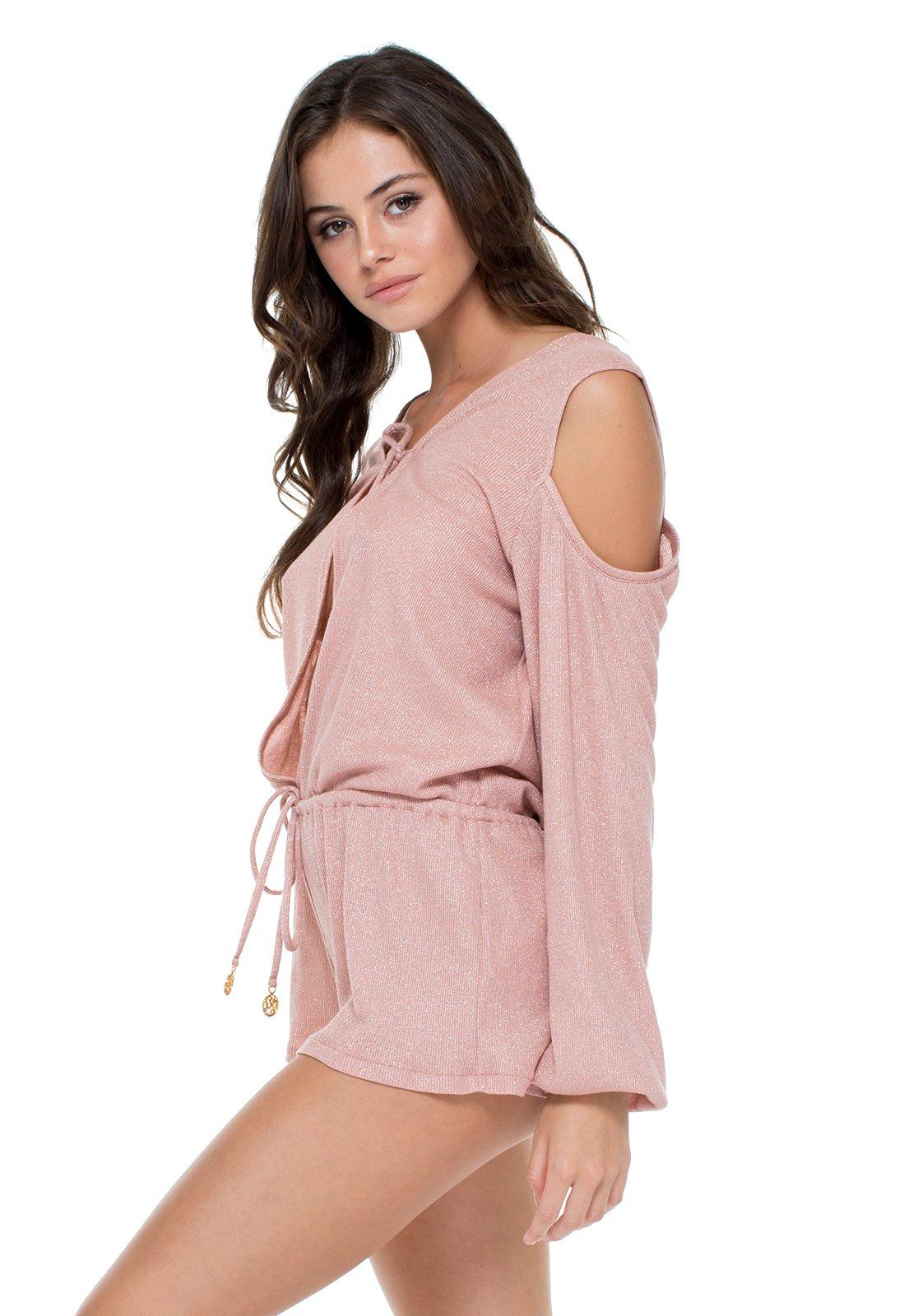 33381108063d Sparkling Pink Long-sleeved Romper - Sabor Longsleeve Romper - Luli Fama