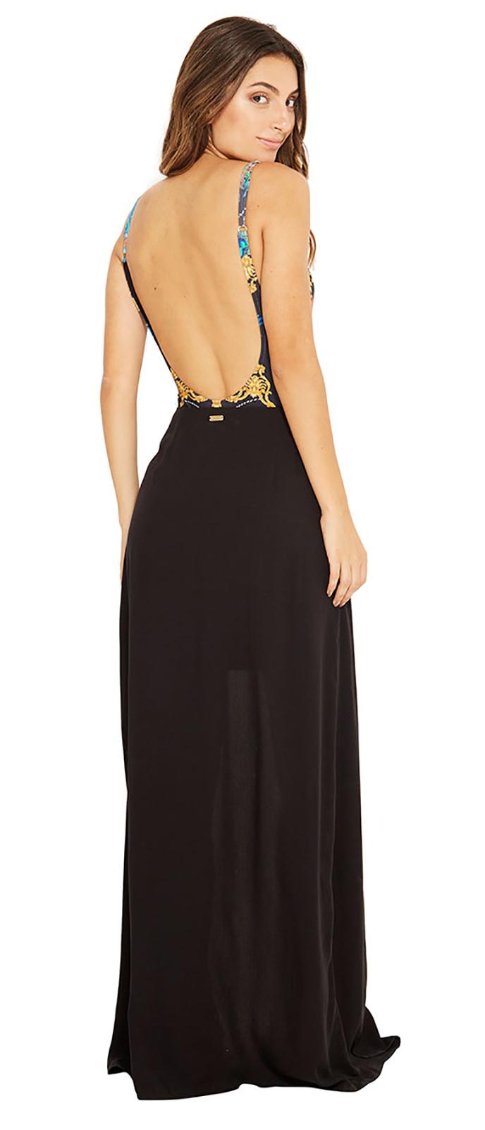 31d2a21f680 スカート サイドに切り抜きが施された黒いロングビーチスカート - Clea ...
