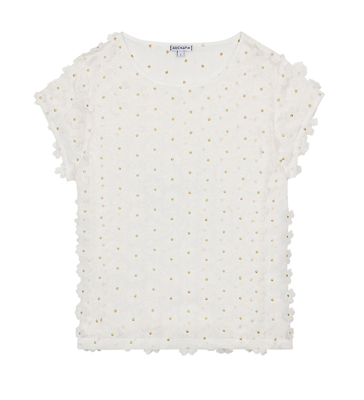 White t shirt with 3d flowers and golden threads top tootsy white mightylinksfo