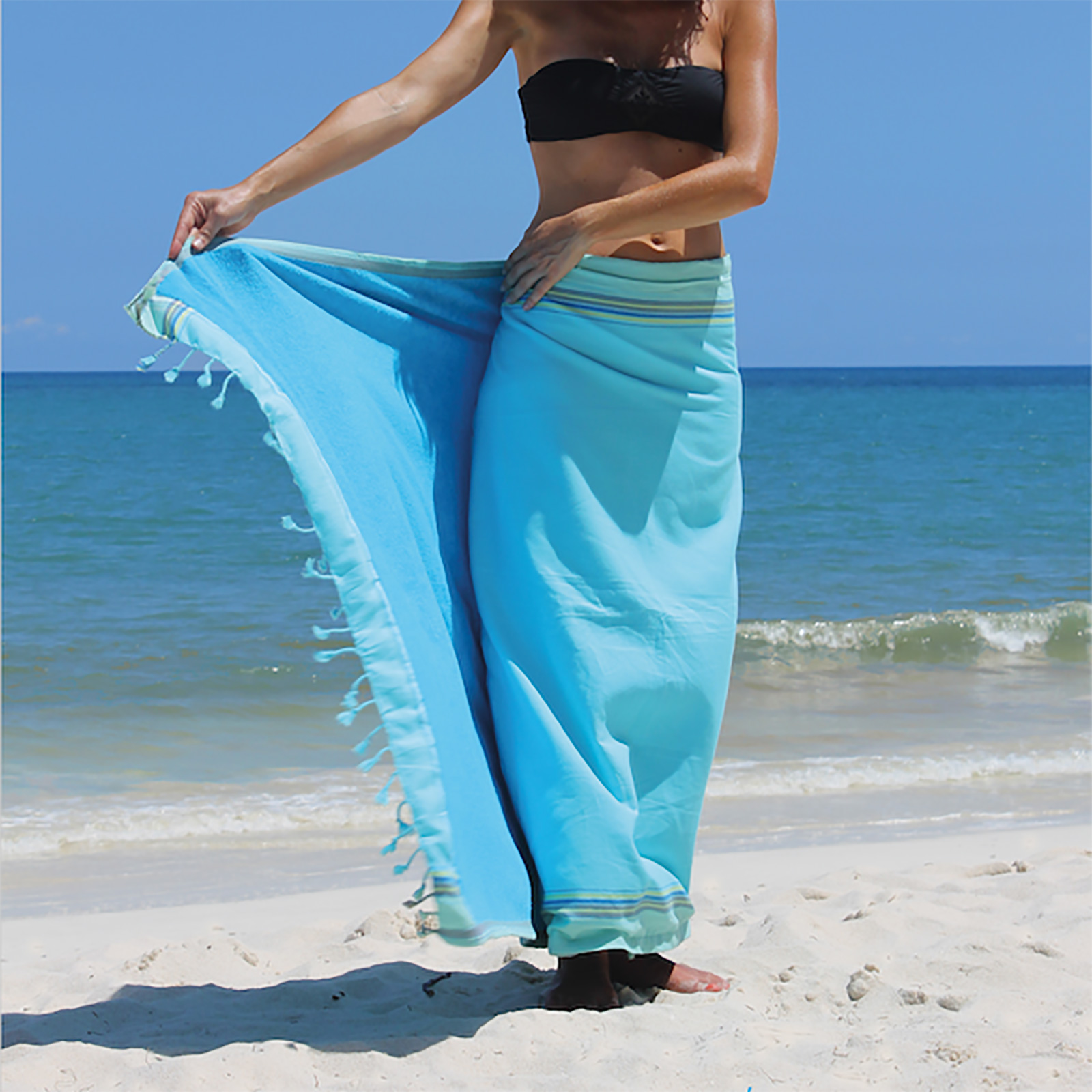 97528856f2a2 Toalla De Playa Y Pareo - Reversible Azul Cielo / Turquesa - Kikoy Blue  Lagoon