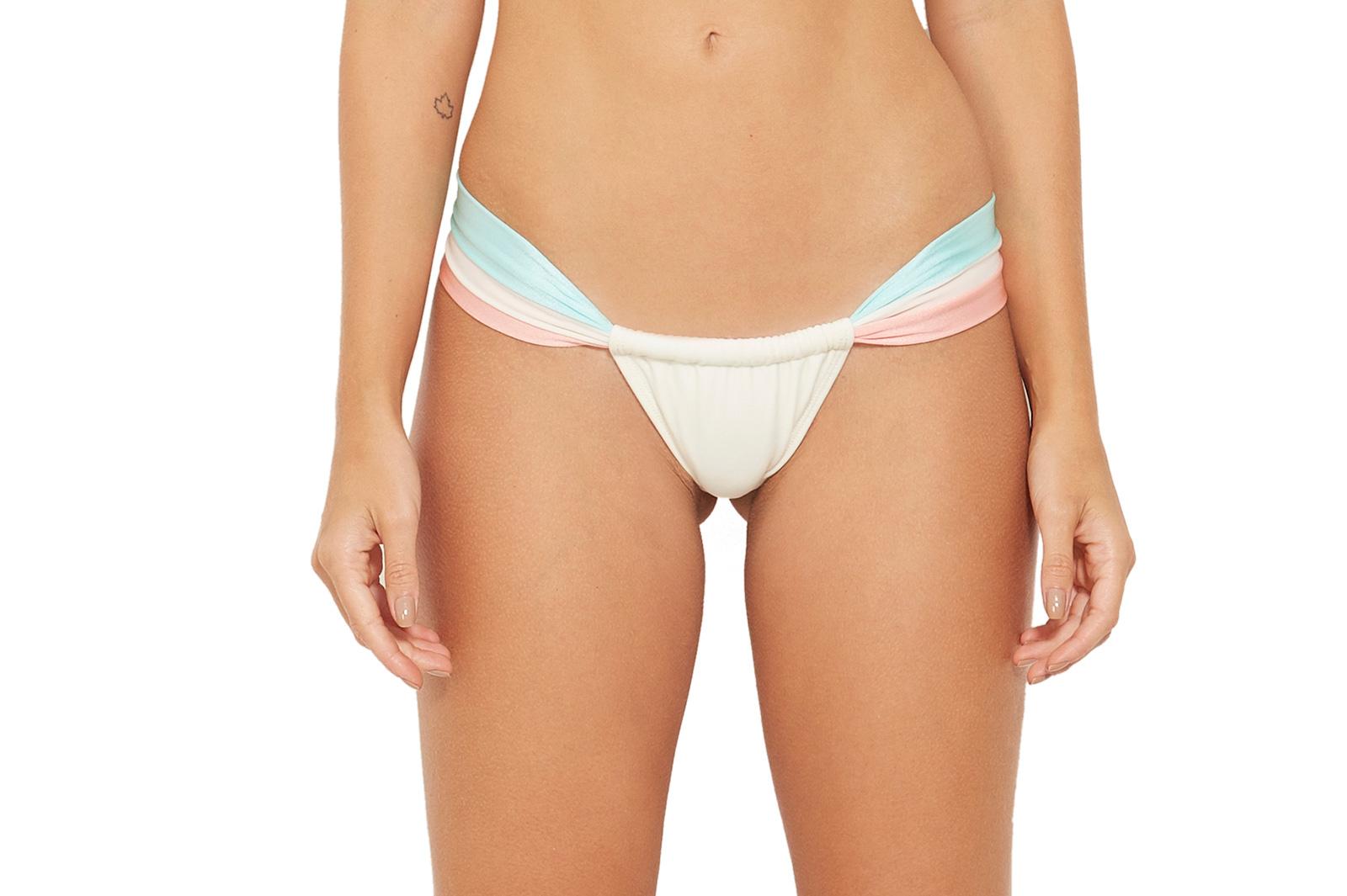 ca0a58294e9 Adjustable low-waist thong ecru / peach / blue - BOTTOM COLOR BRANCO PEROLA  ...