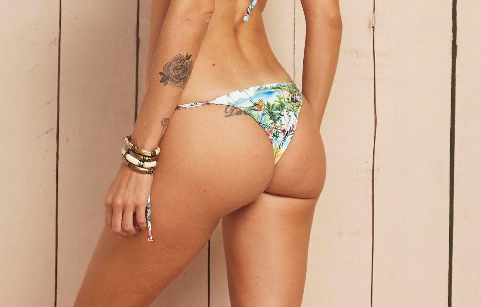 de9d0e35af Tropical Print Brazilian Bottom With Side Ties - Calcinha Aguas De Marco