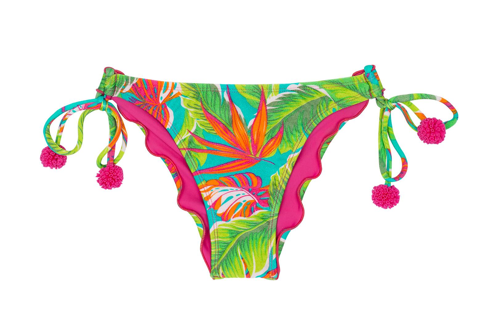 a52b192b4 Cueca franzida tropical verde c/ pompons rosa - CALCINHA PARADISE GREEN OFF  SHOULDER ...