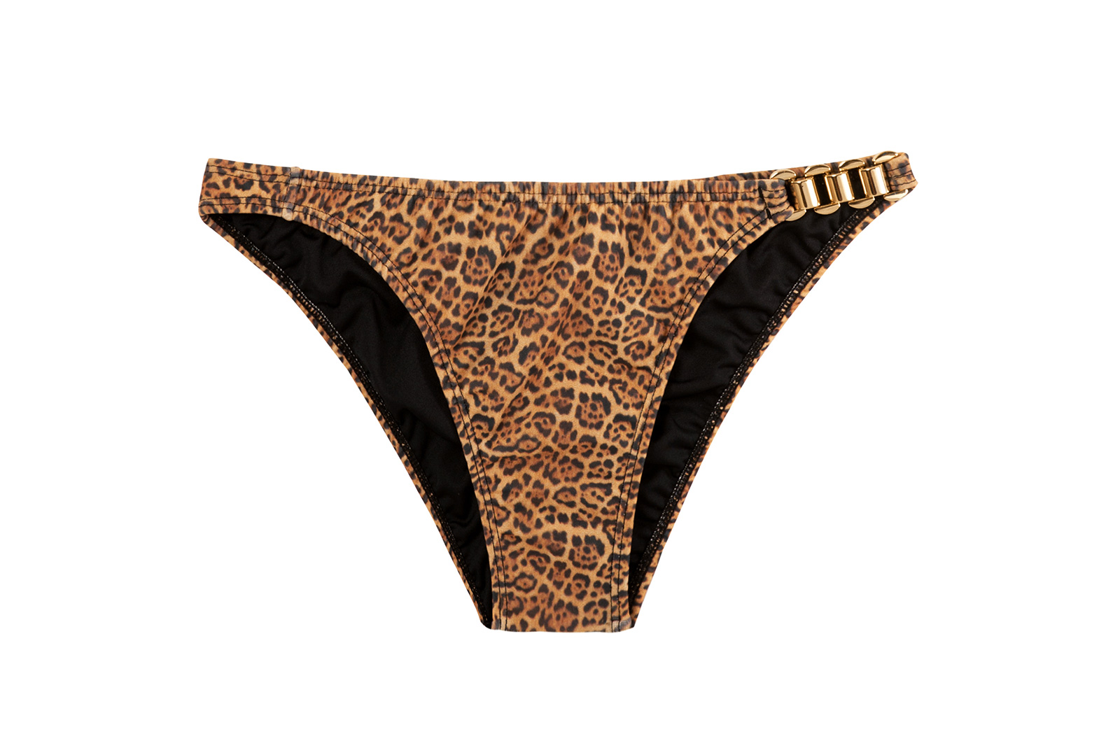 Brazilian Animal Print Bikini Bottom With Goldtone Accents Calcinha Bikini Jaguatiric