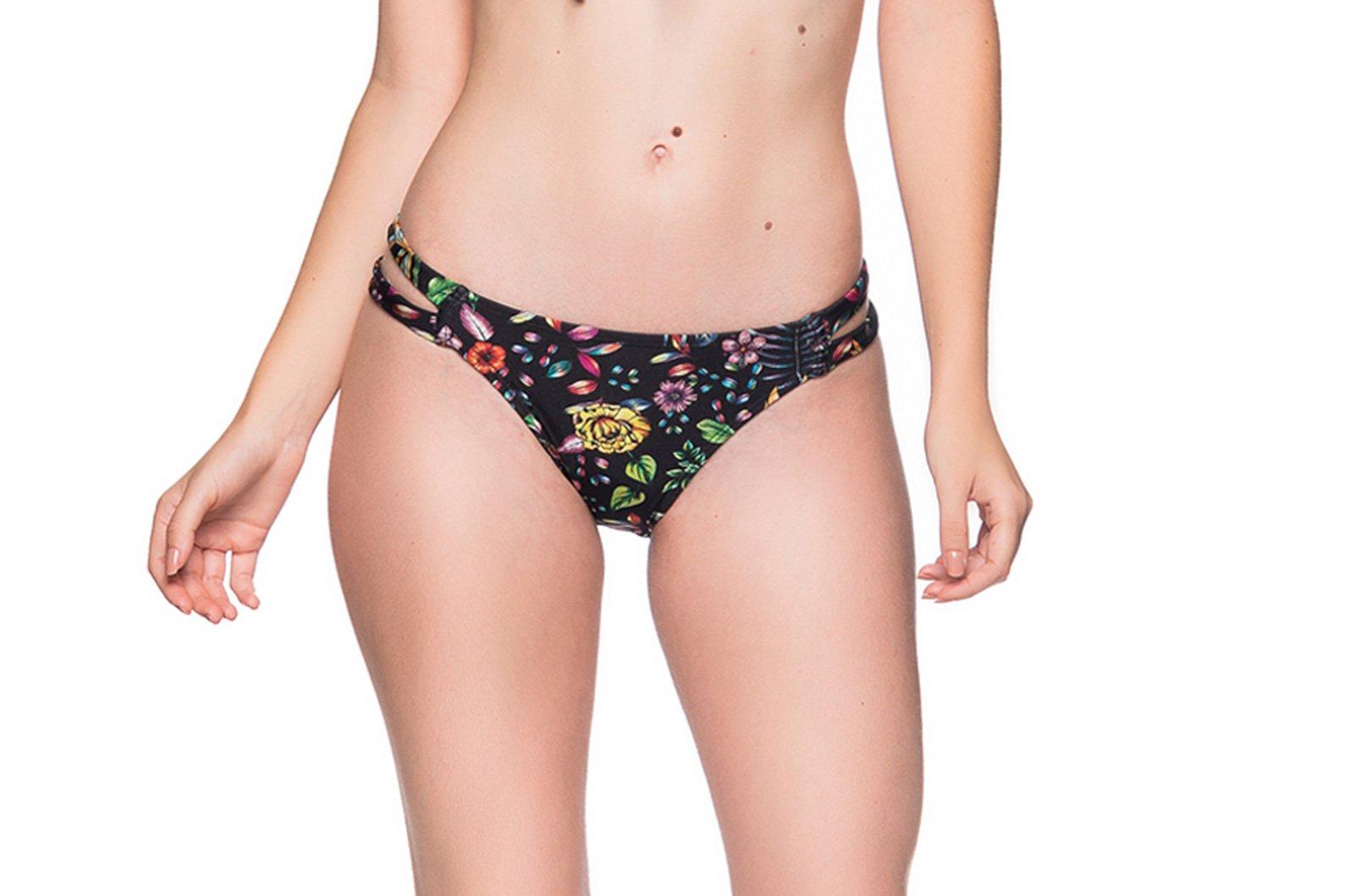 1ce88c492a5 Black Floral Bikini Bottom Double Side Stripe - Bottom Tiras Dream ...