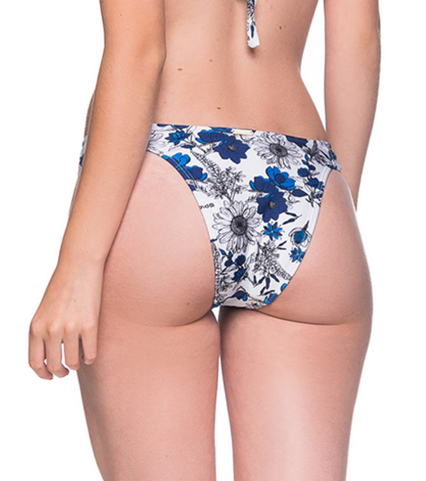 39935cda01e ... Blue & white floral bikini bottom pleated sides - BOTTOM TURBINADA ATOBA