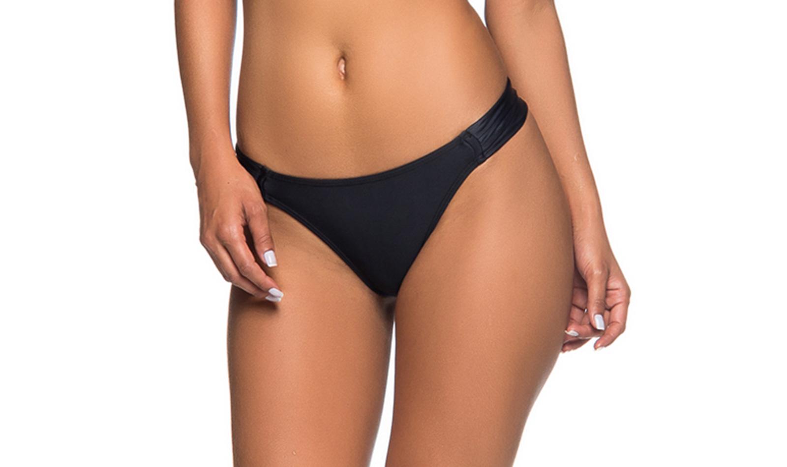 41027b40c19 Black Brazilian Bikini Bottom Pleated Sides - Bottom Turb Preto ...