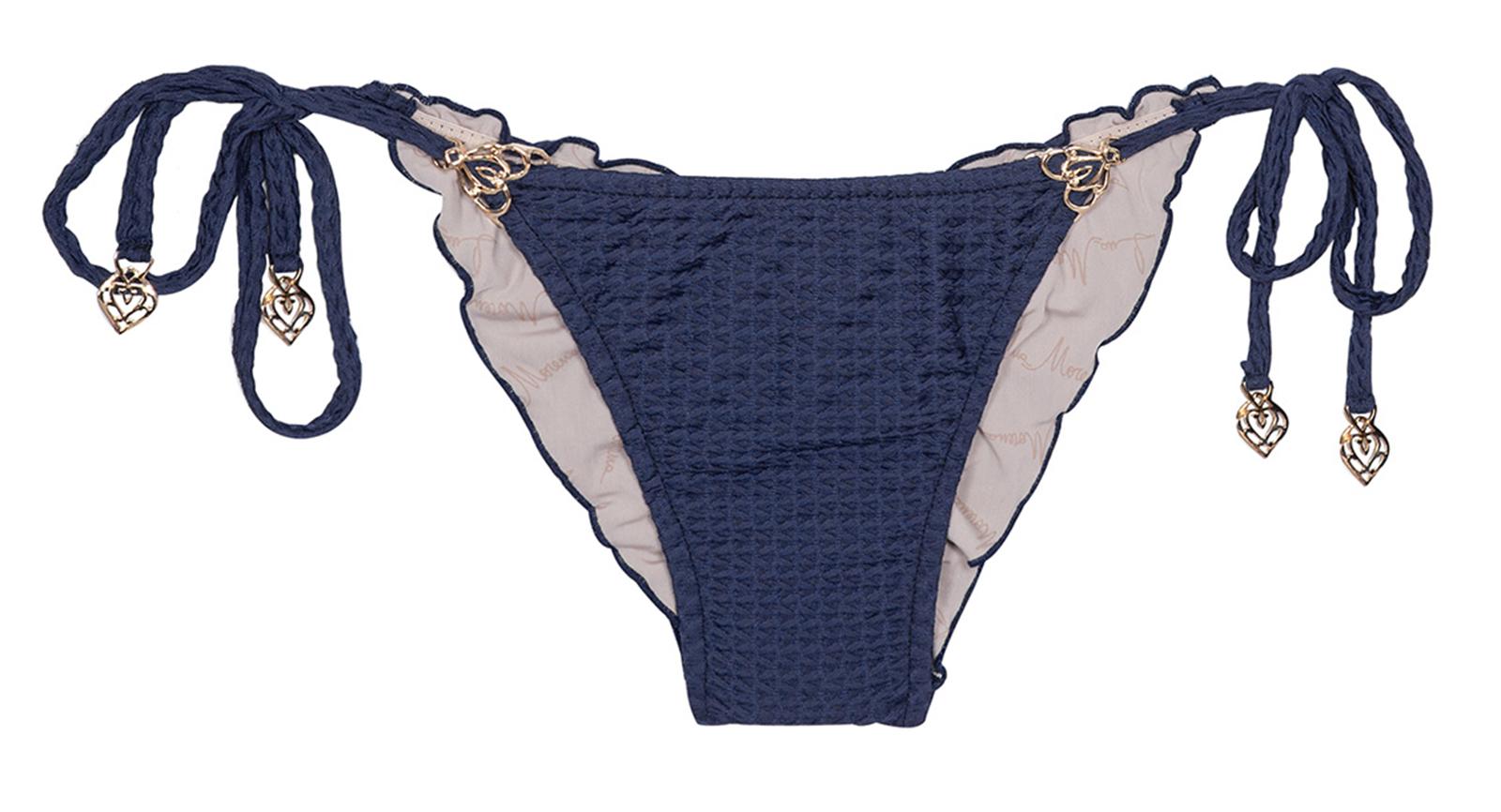 Scrunch-bikini-höschen, Marineblau & Texturiert - Calcinha Mini Arabesco Blu