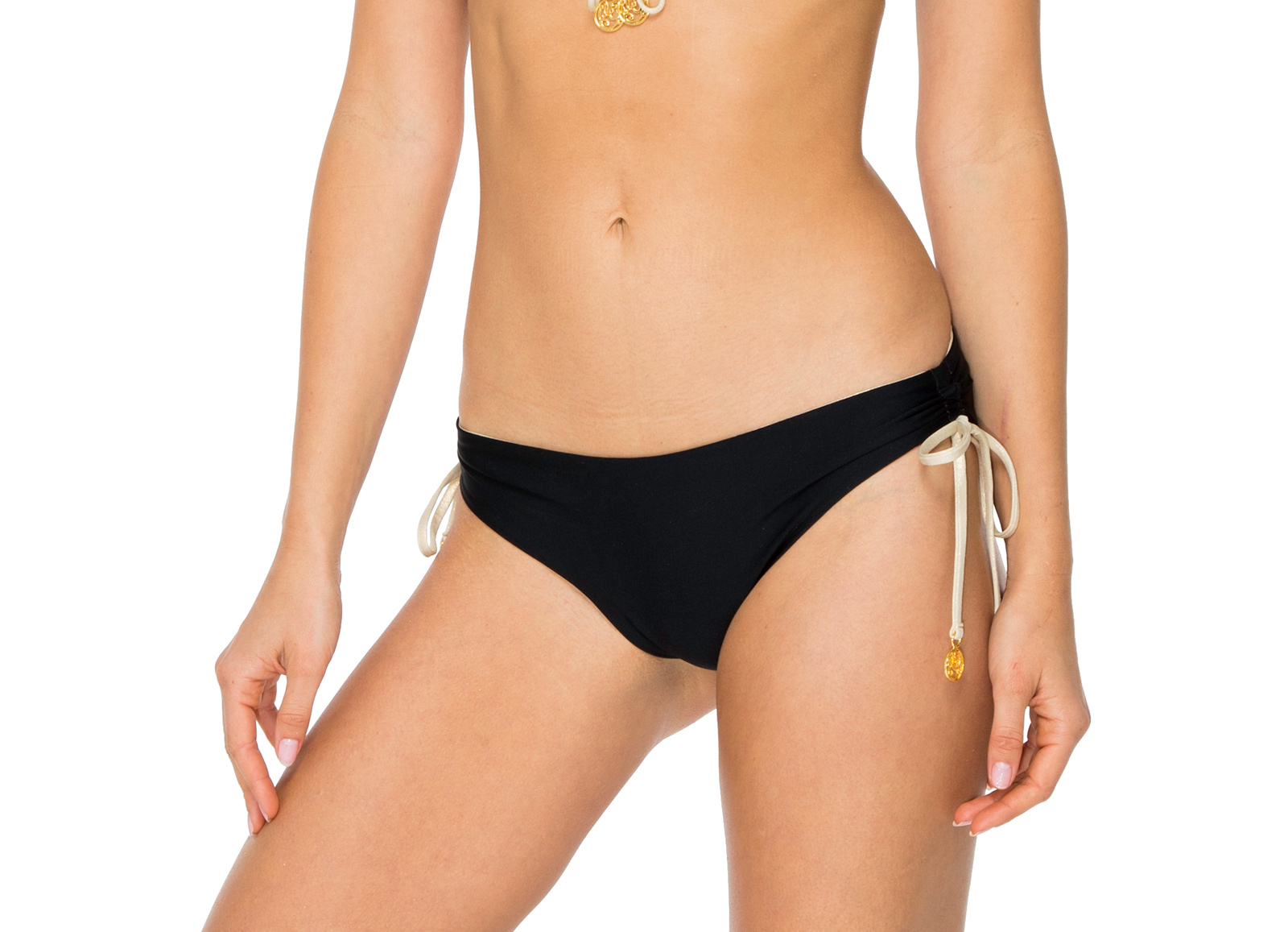 c6849223d999d Reversible Bikini Bottom Black   Gold - Bottom Black Drawstring