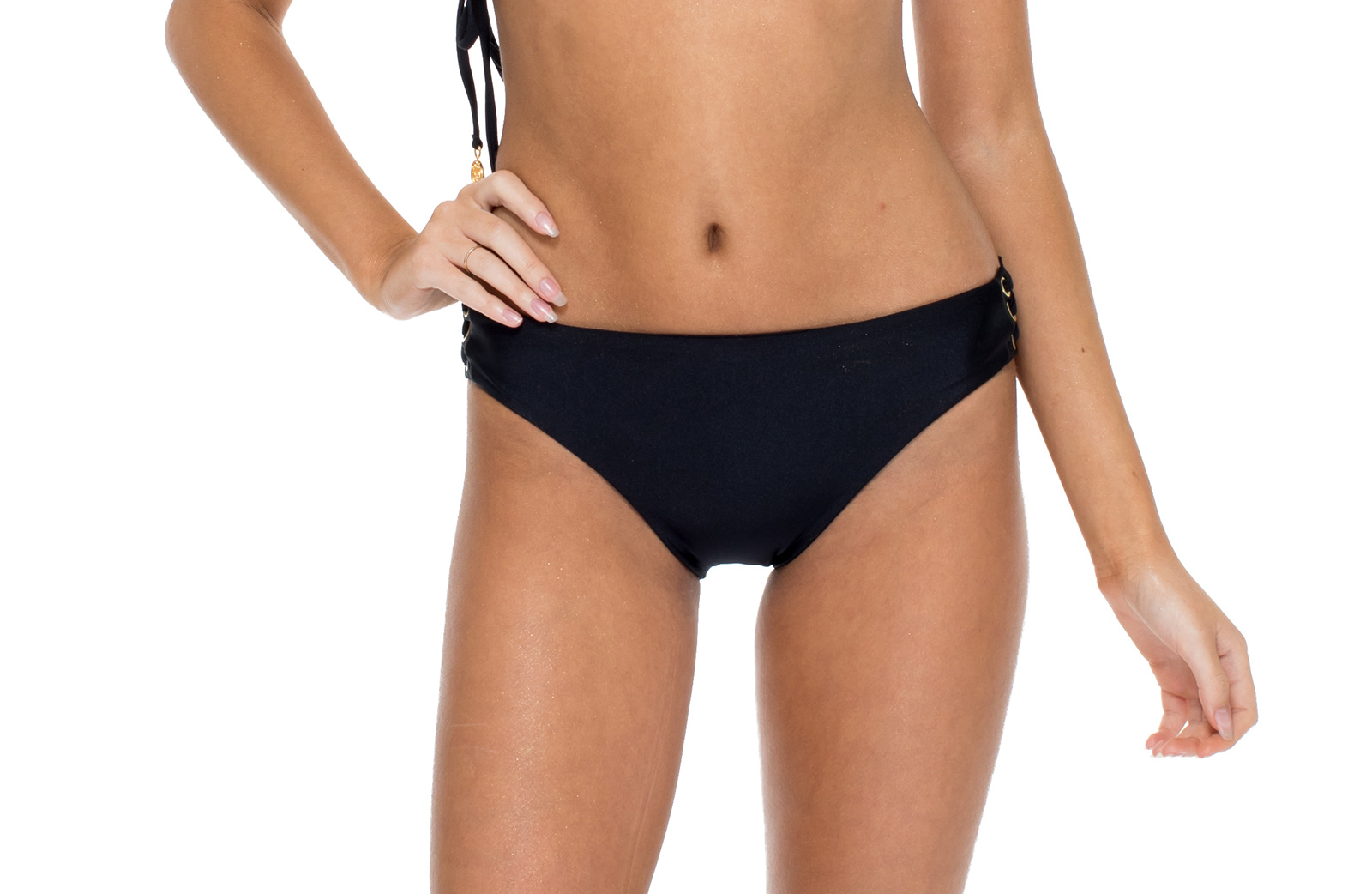 6c10e903e4c4a Black Bikini Briefs With Lace-up Sides And Eyelets - Bottom Mambo Sonia  Black - Luli Fama