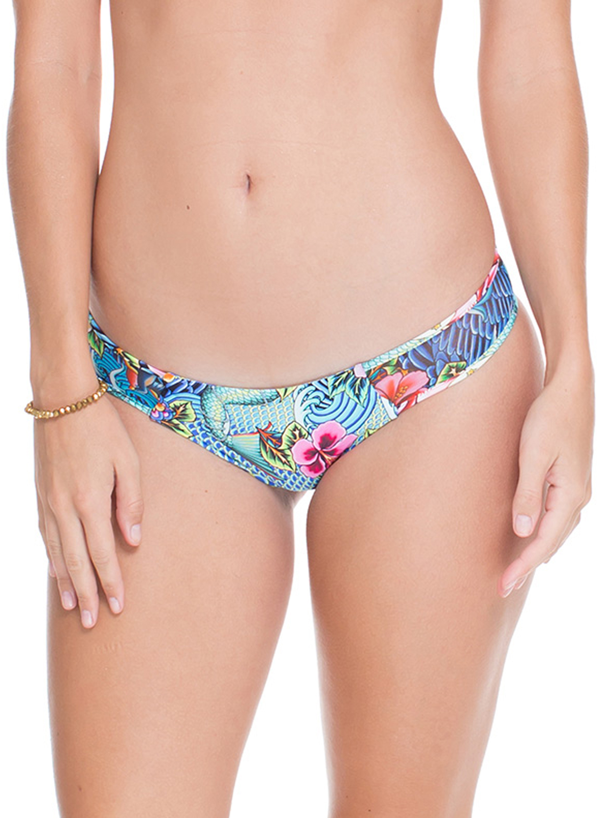 Reversible Blue Print Fixed Bikini Bottom Calcinha Indico