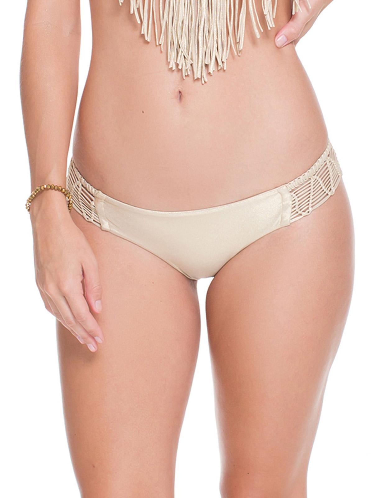 gold satin finish fixed bikini slip with macramé detail - calcinha iris
