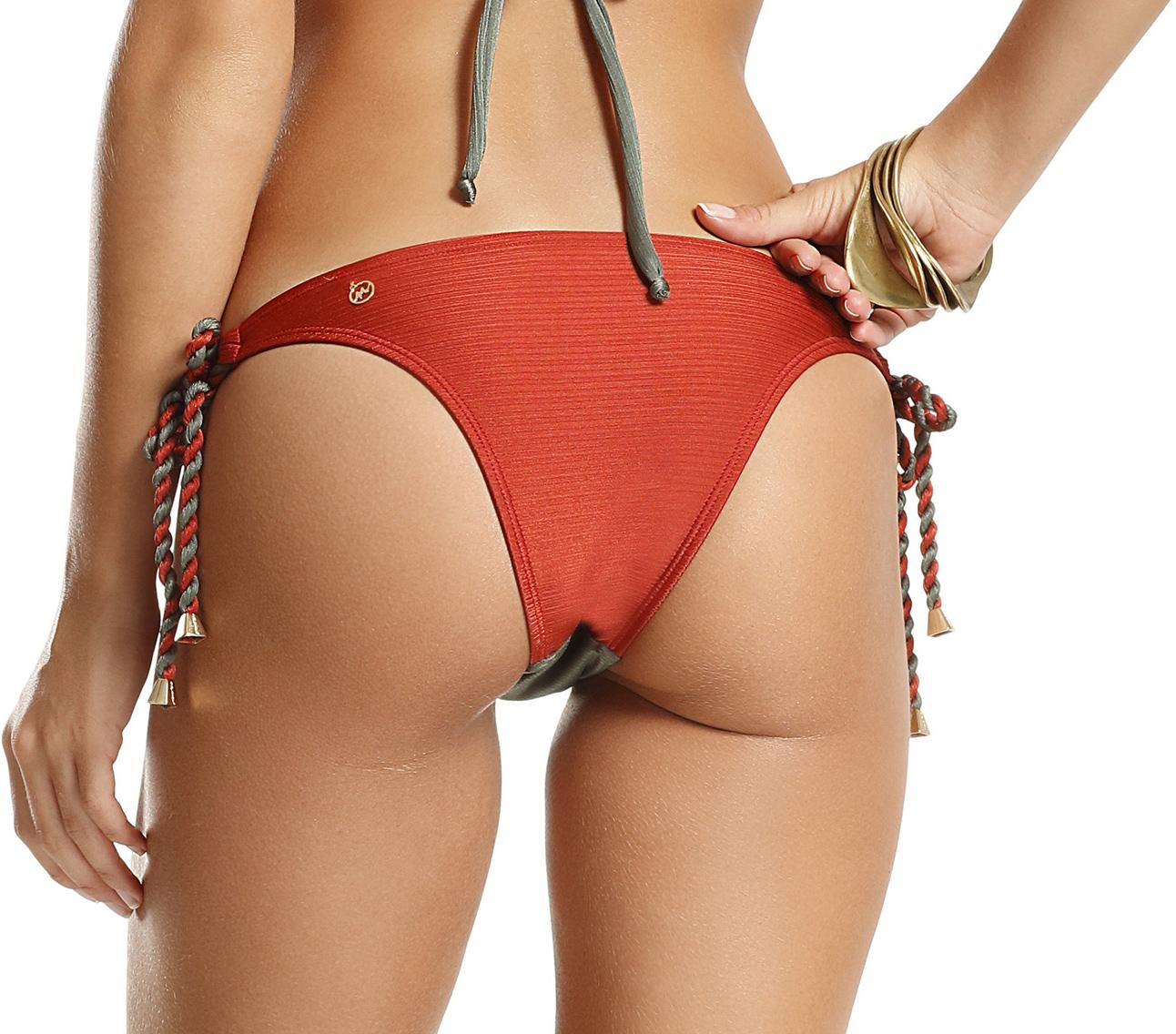 bf5847247a4f9 Brazilian Bikini Bottom - Grey And Dark Orange - Bottom Power Lisos
