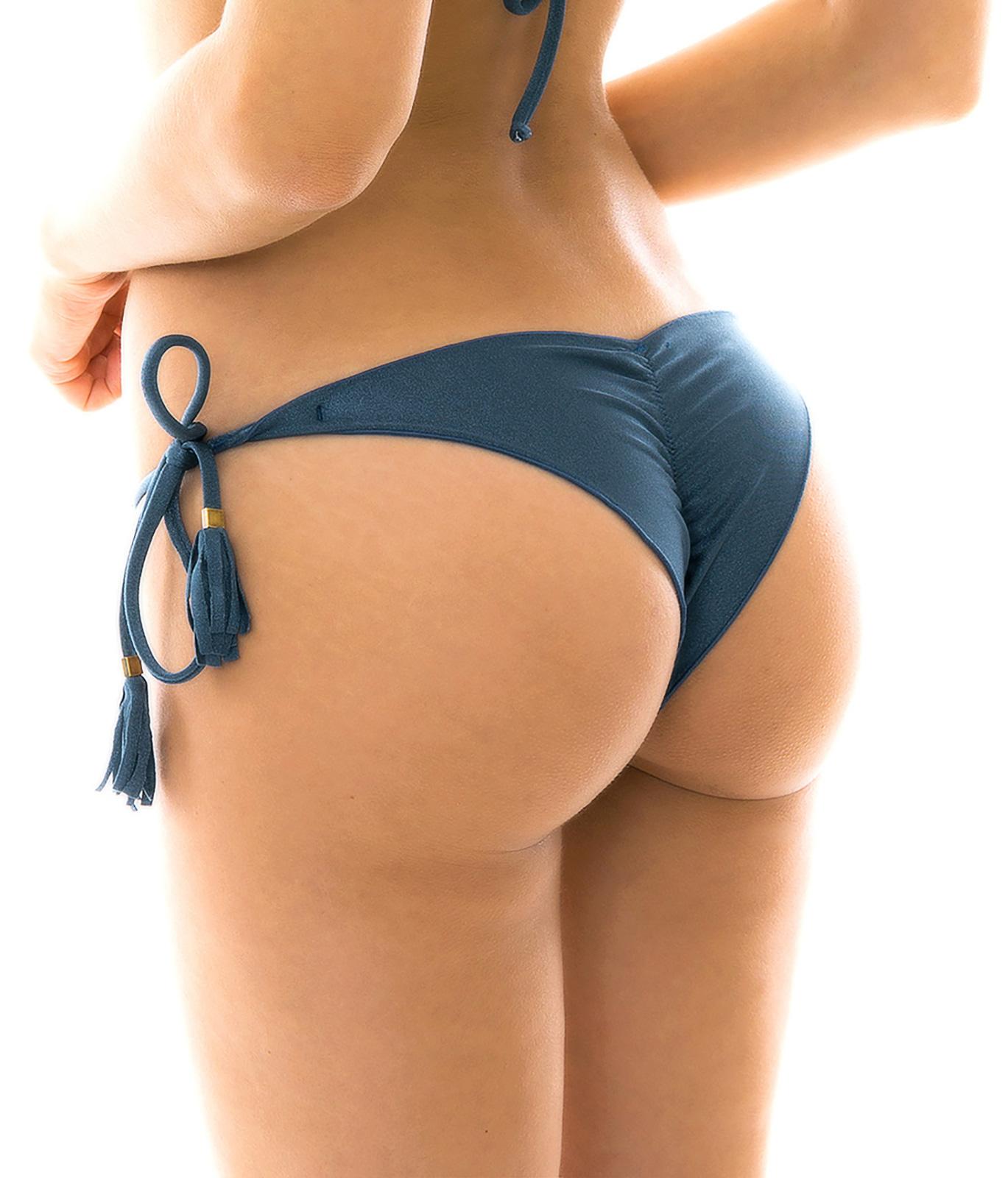 White scrunch butt bikini bottom, reversible micro string bikini, chee voneenz