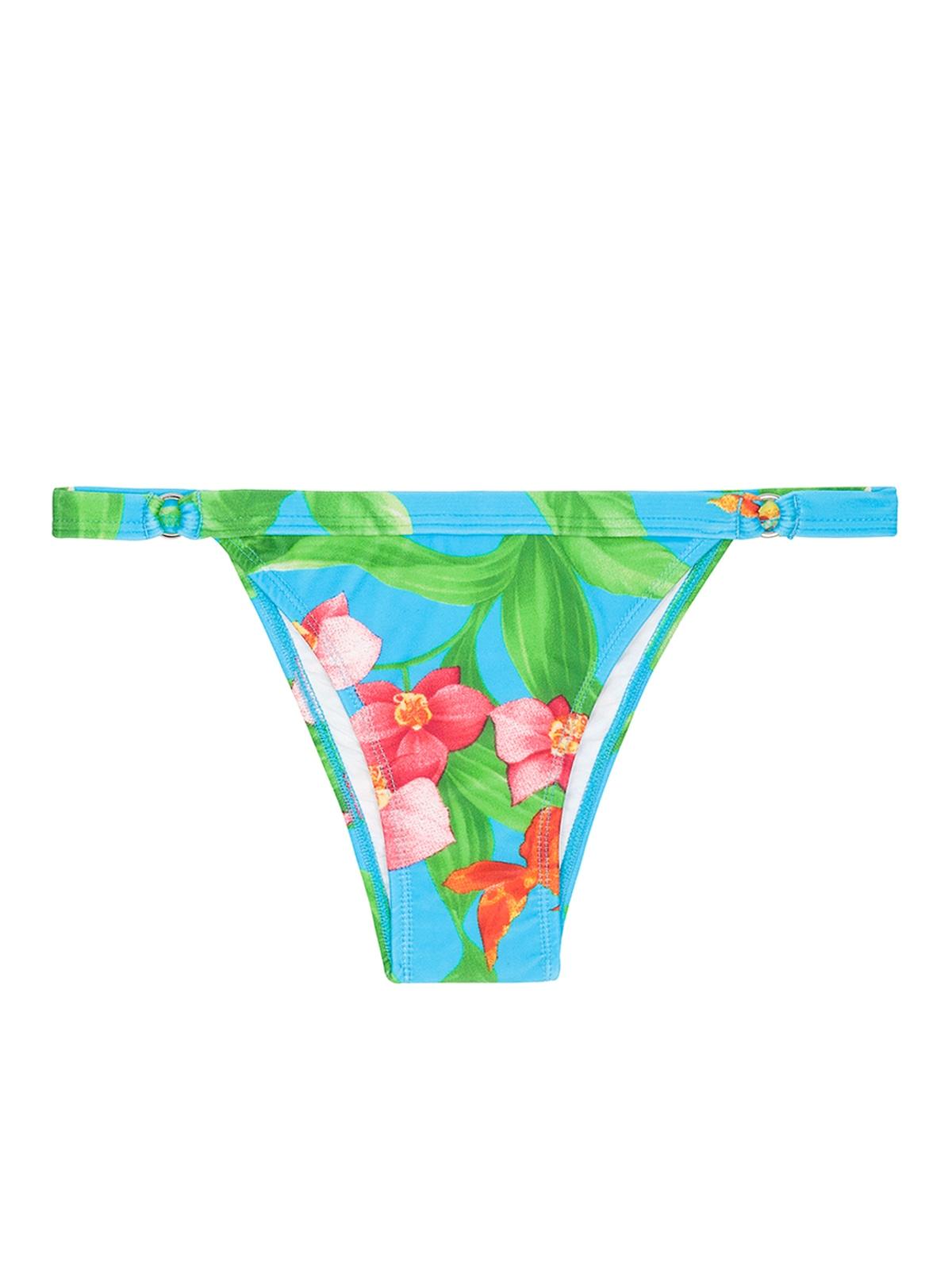 Tanga de ba o azul con flores y bordes finos calcinha - Tangas de bano ...