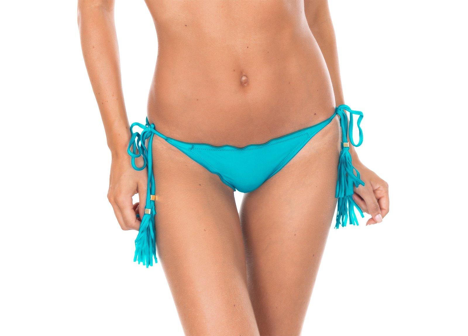 Sky Blue Scrunch Bikini Bottom With Tassels Calcinha Ambra Frufru Nannai