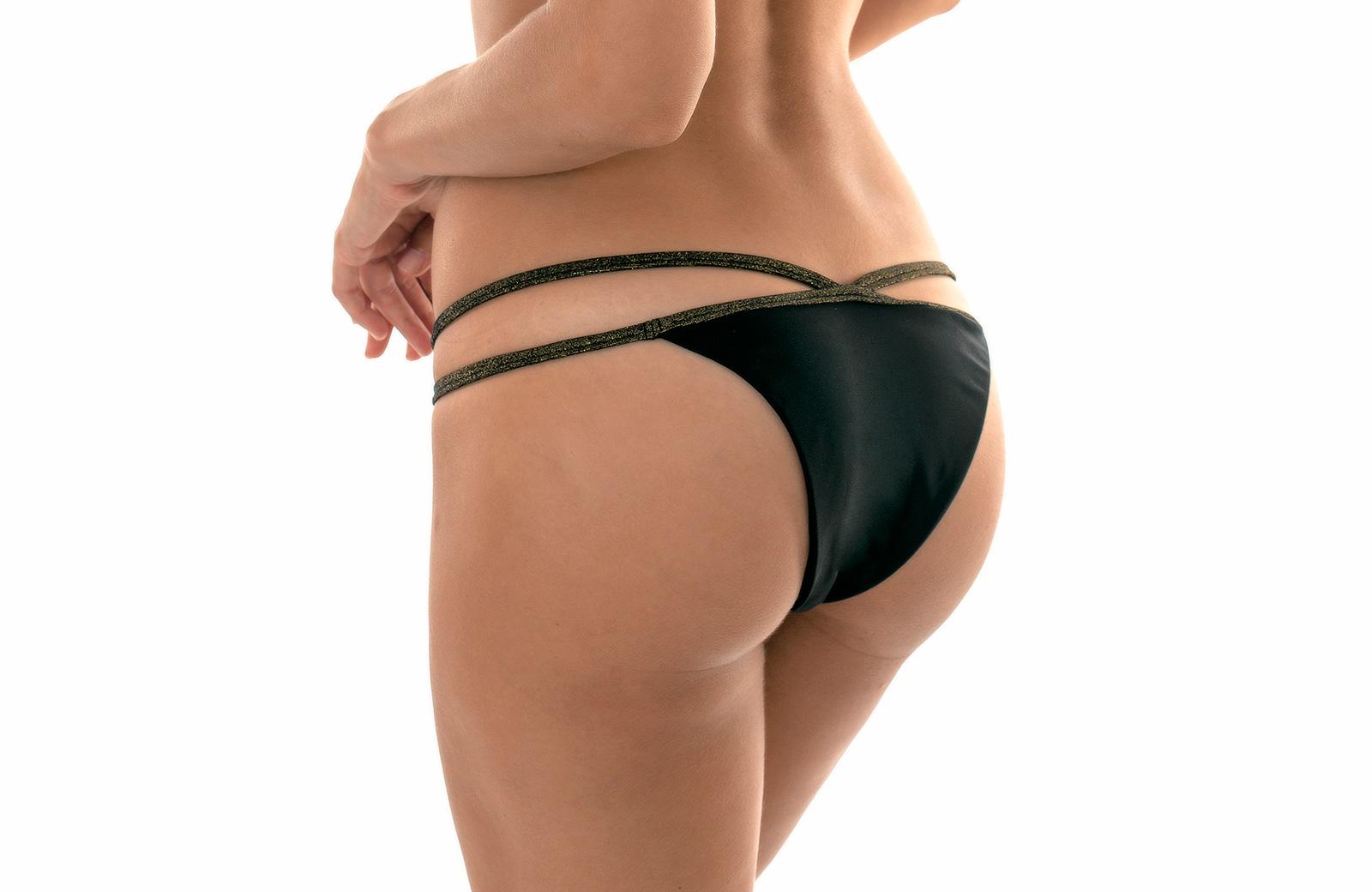 52518e263e ... Black strappy Brazilian bikini bottom with Lurex straps - CALCINHA  RADIANTE CROPPED NECK