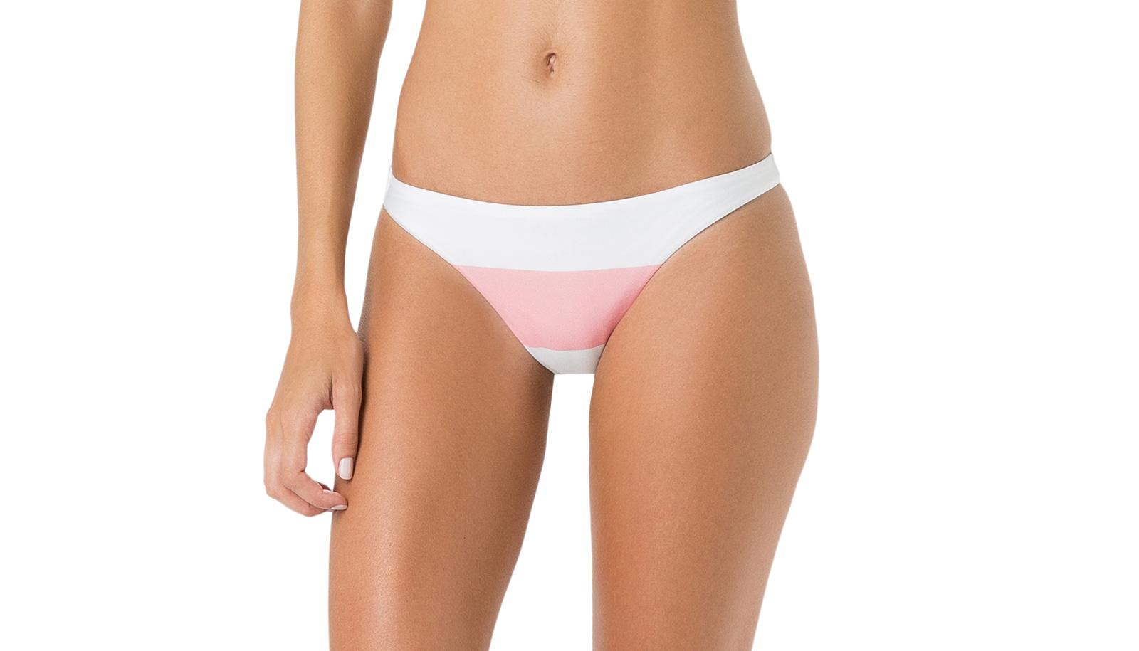 14ec5bedf7 Bikini Bottoms White And Pink Bikini Briefs - Bottom Miracle Club