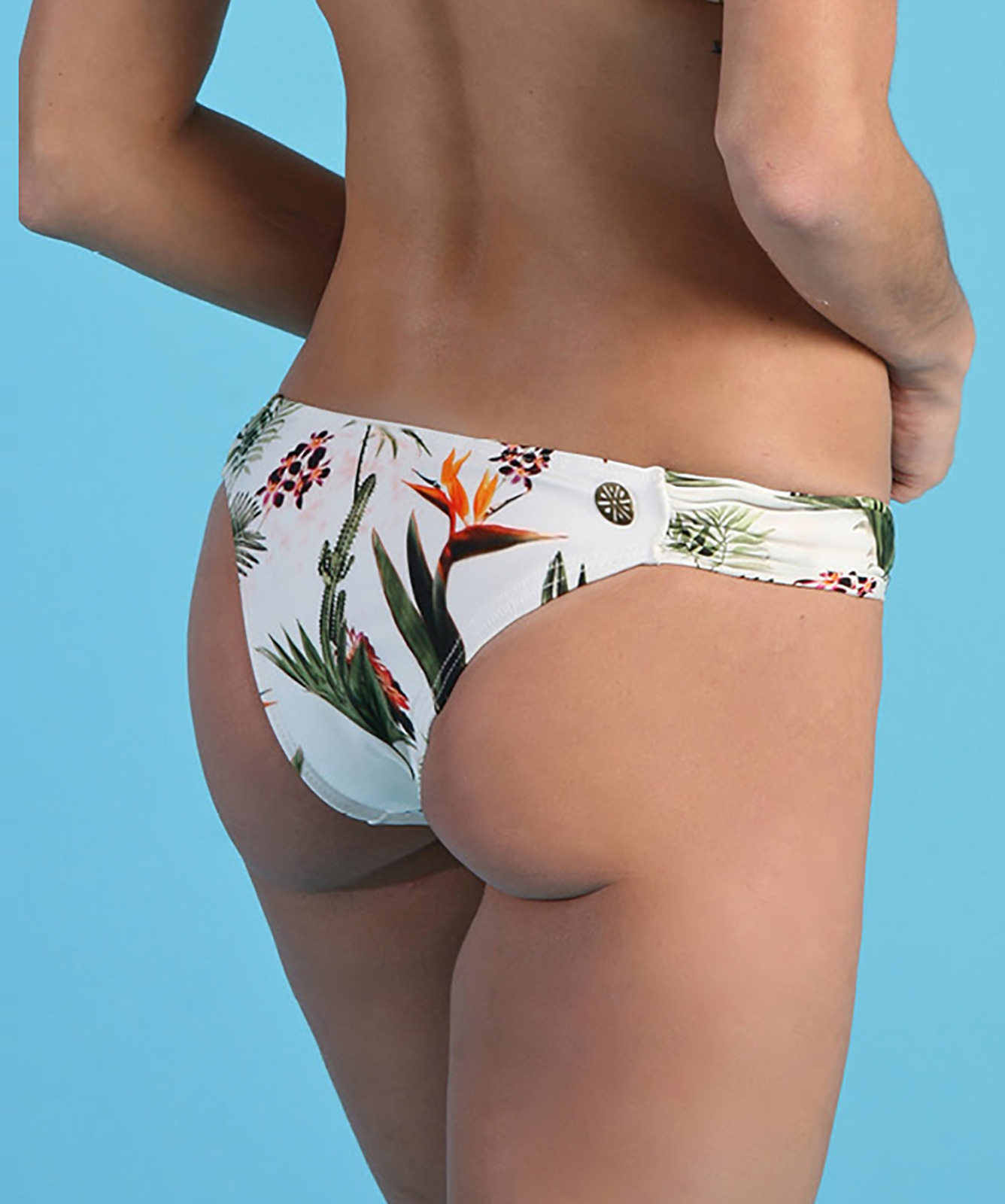371c854497 Tropical White Fixed Bikini Bottom - Bottom Bombom Estampada