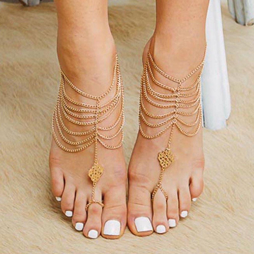 Goldfarbener Fussschmuck Für Barfuss-sandalen-fans - Cherish Barefoot ...