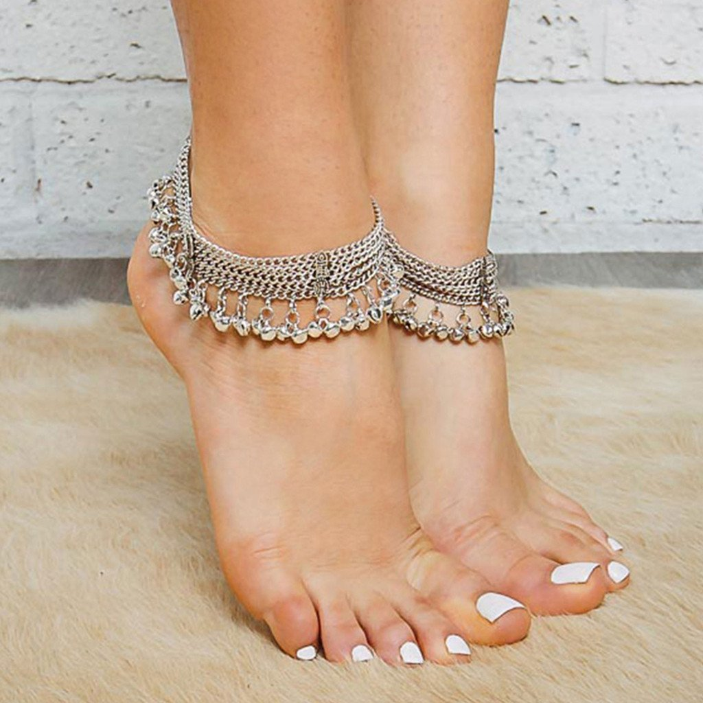 Silver Coloured Ankle Bracelet, Chains And Beads - Easter ...
