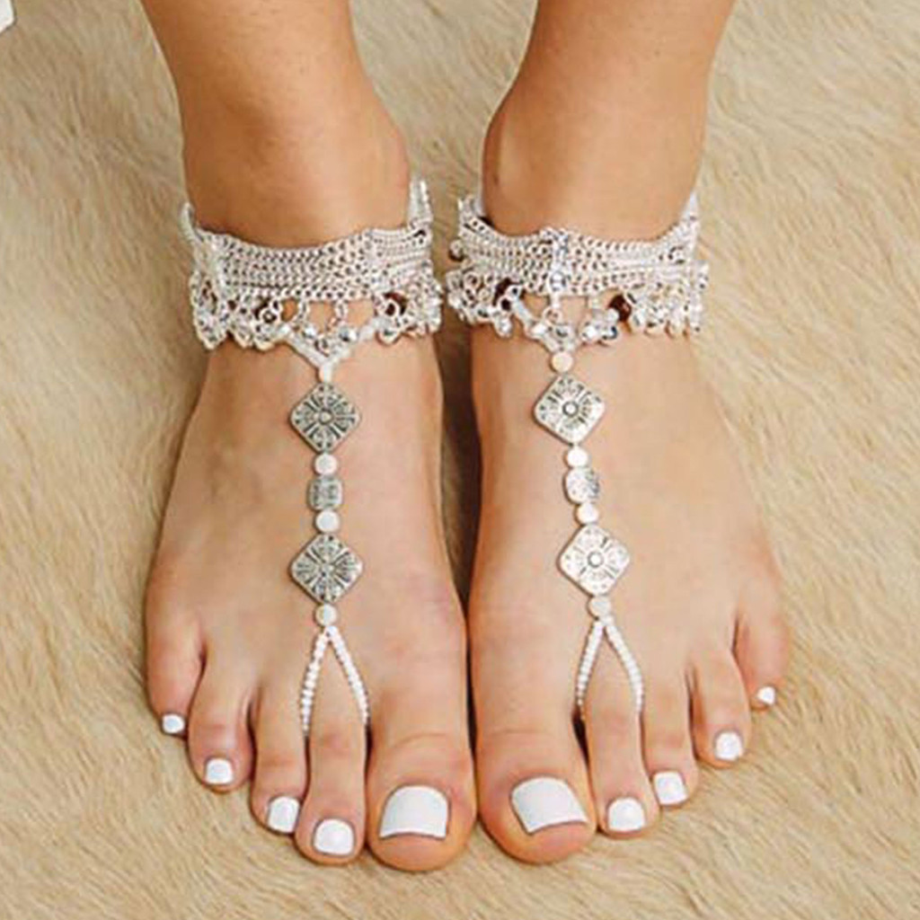 Bisutería Estilo Sandalias Descubiertas, Con Perlas Y Adornos De Pasamanería , Happy Barefoot Sandals