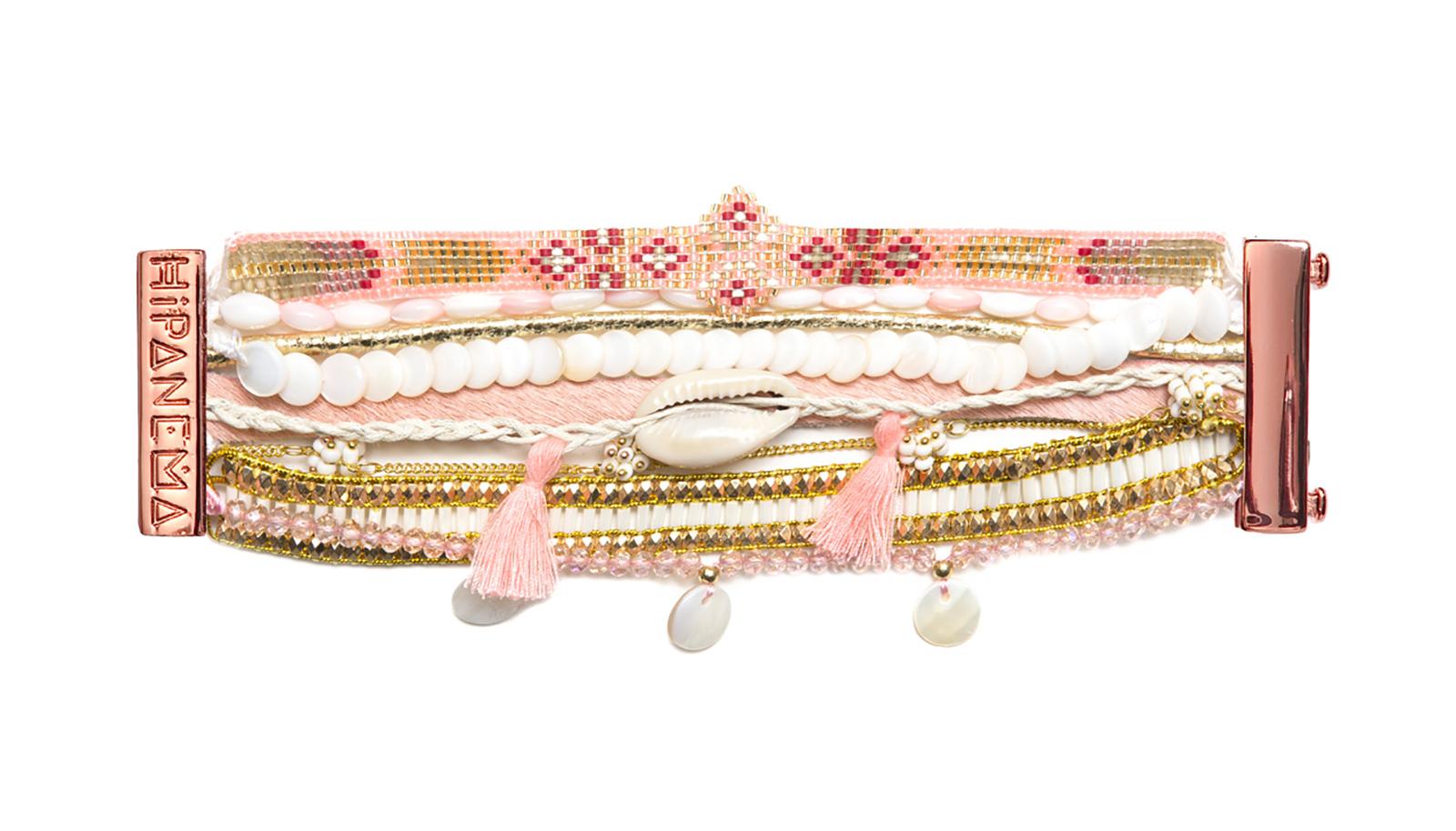 large bracelet multi rangs rose et dor en perles pompons et coquillage hipanema borabora. Black Bedroom Furniture Sets. Home Design Ideas