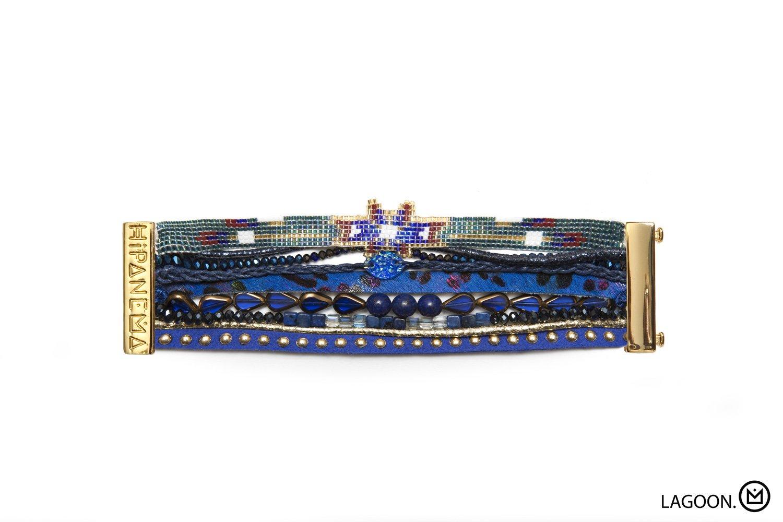 Bracelet Hipanema Bleu Foncé Multi Matières, Fermoir Aimanté Doré , Hipanema Lagoon