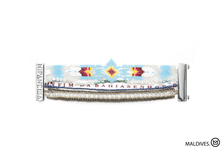 Bracelet bleu ciel et blanc, perles et ruban brésilien , HIPANEMA MALDIVES