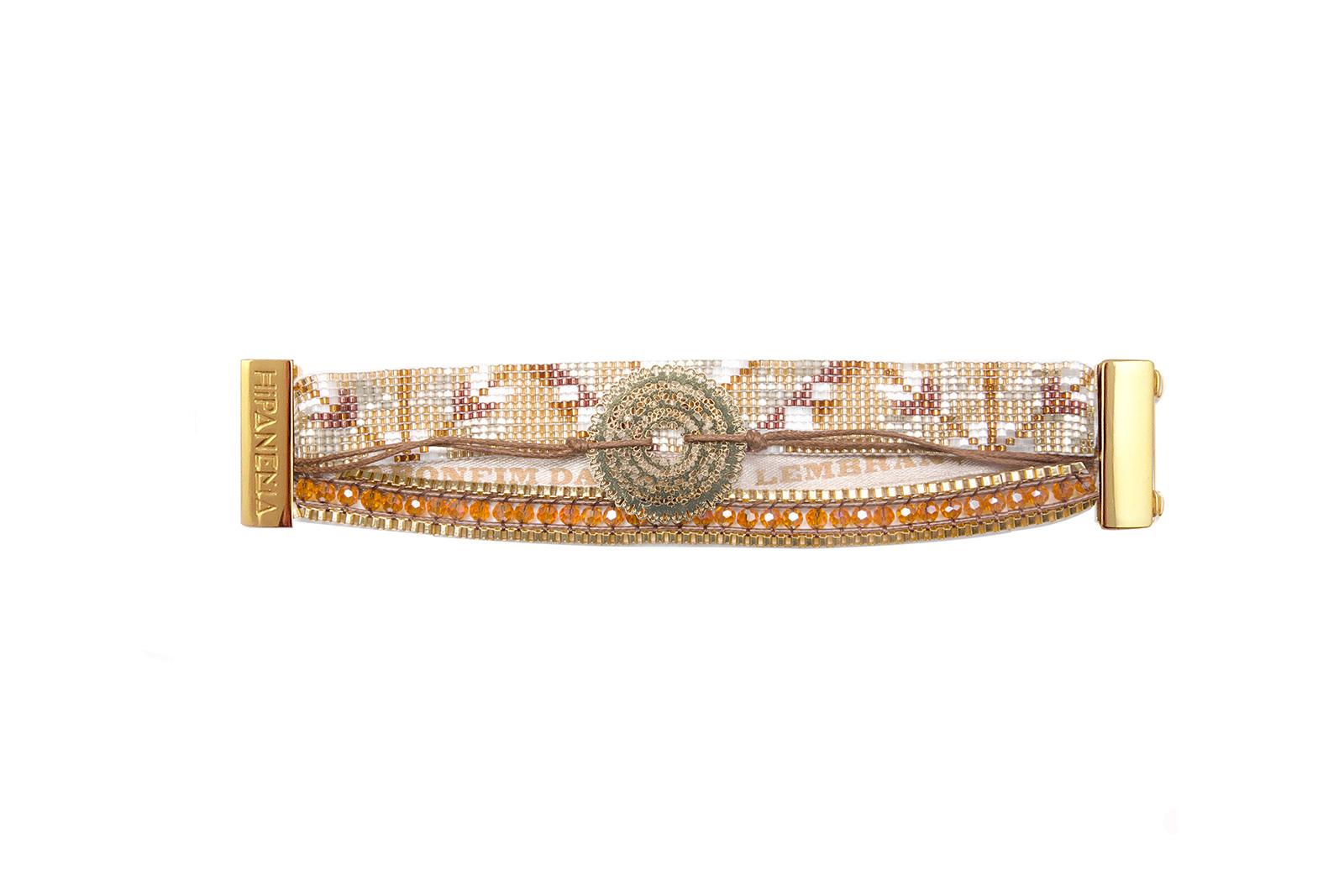 gold coloured and brown bead bracelet brazilian ribbon. Black Bedroom Furniture Sets. Home Design Ideas