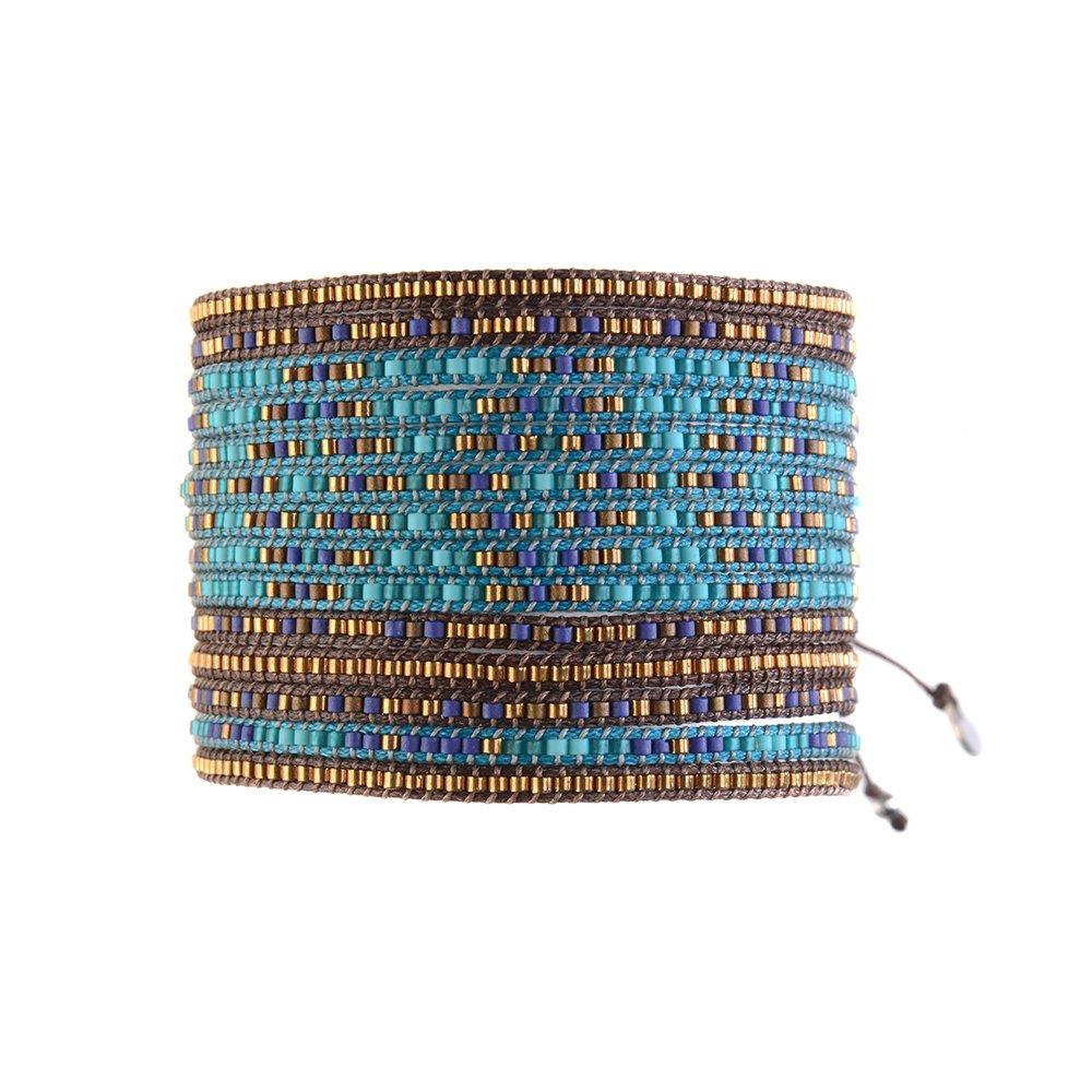 grossiste 40918 d3754 Bracelet Multirows Dark Blue Turquoise Aqua