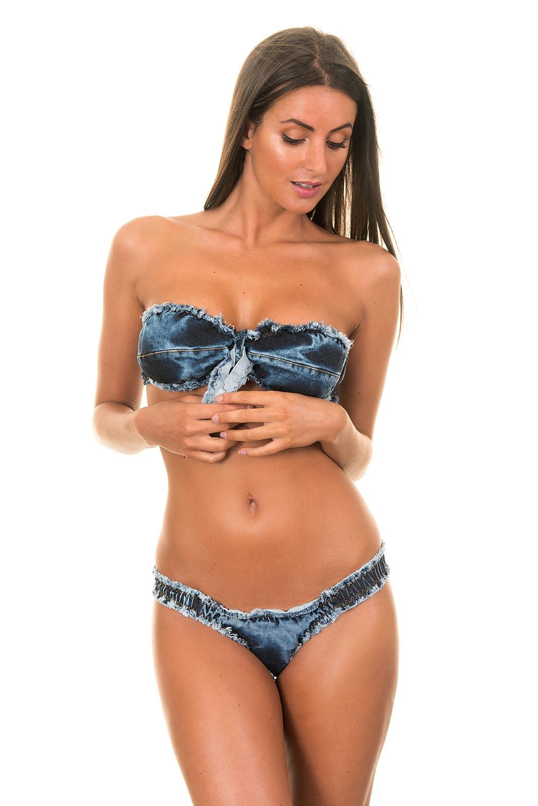 Her strapless bikini bottoms after
