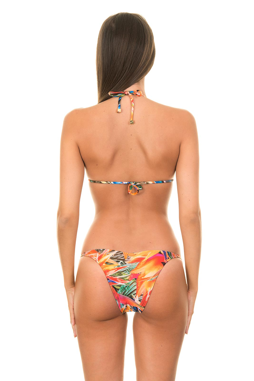 Tropical Triangle Top Swimsuit With Jewellery-effect ...