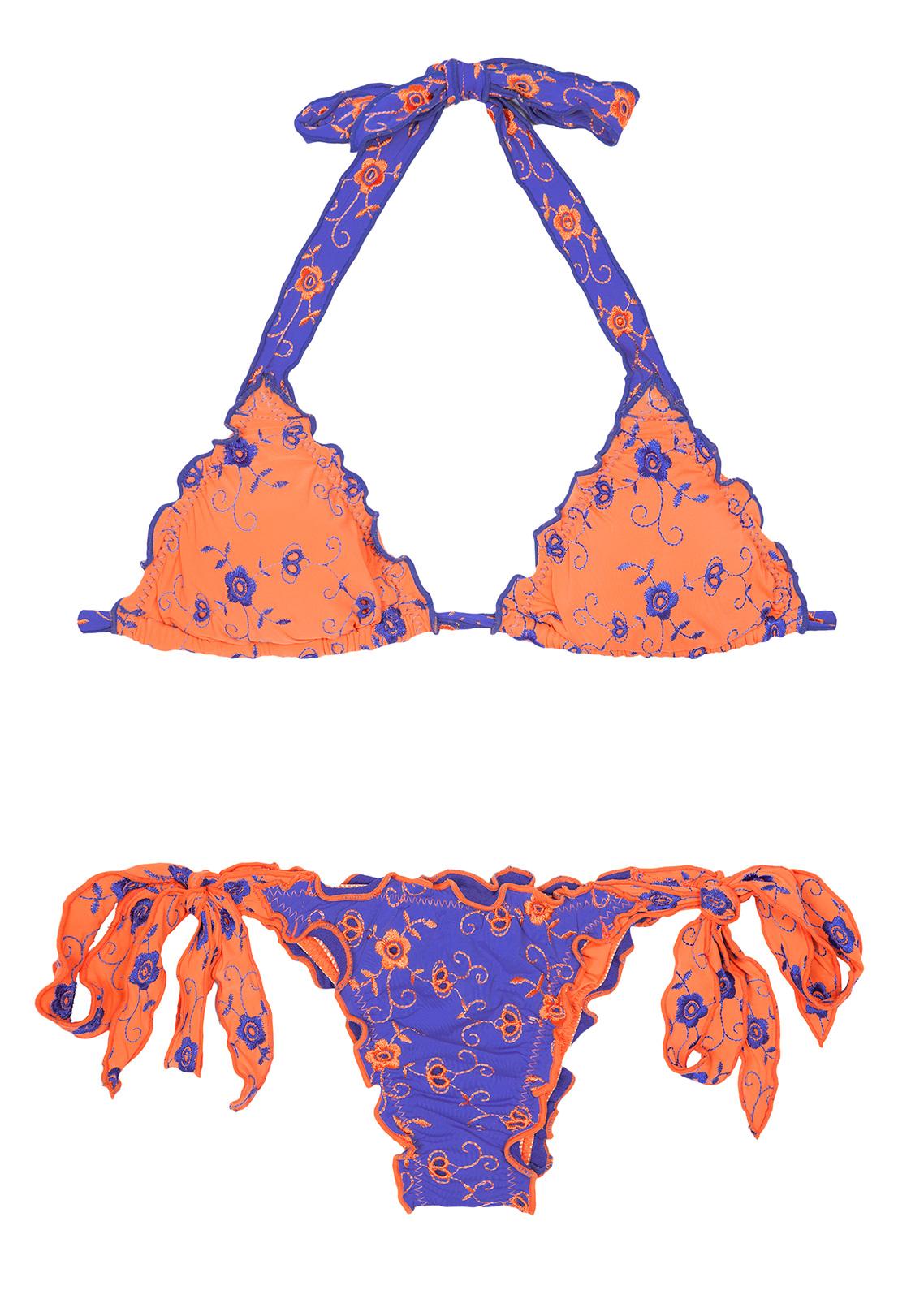 orange and blue embroidered scrunch micro bikini liberty. Black Bedroom Furniture Sets. Home Design Ideas