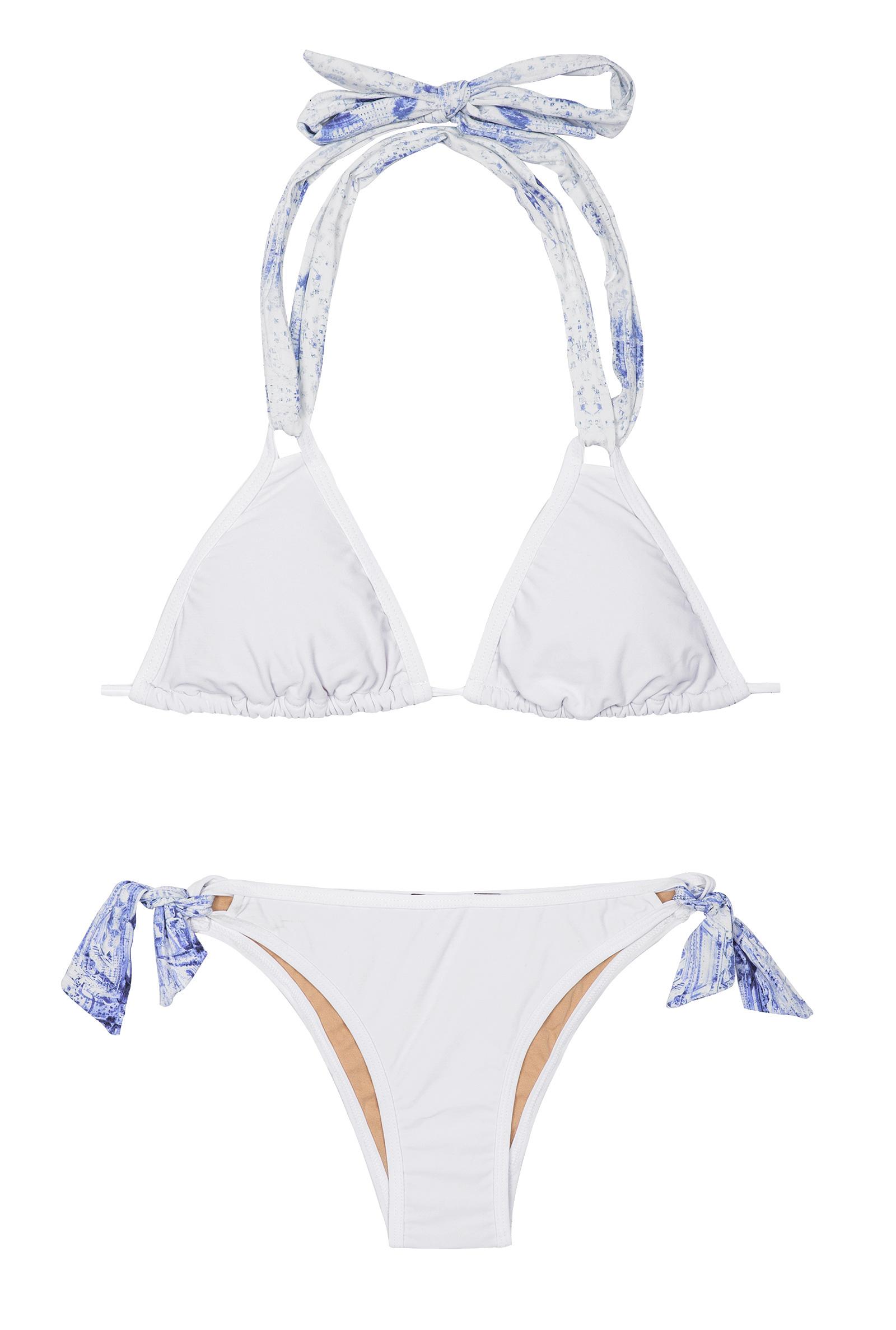 kiminis bikini triangle blanc liens bleus imprim s kas paris. Black Bedroom Furniture Sets. Home Design Ideas