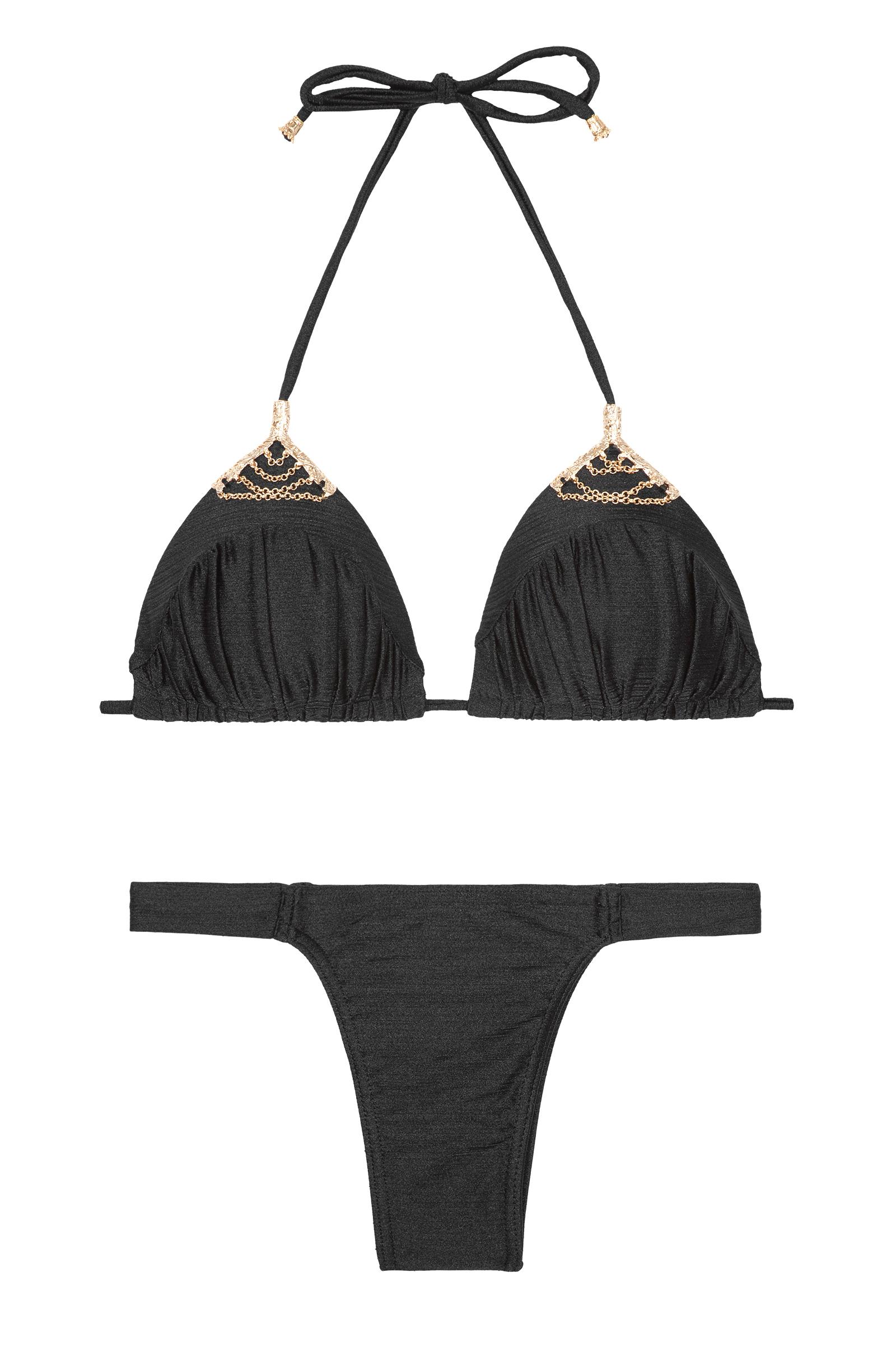 Triangle-paddé-bikini, Schwarz-irisiert, Höschen Mit Schmalen Rändern -  Tresoro Preto