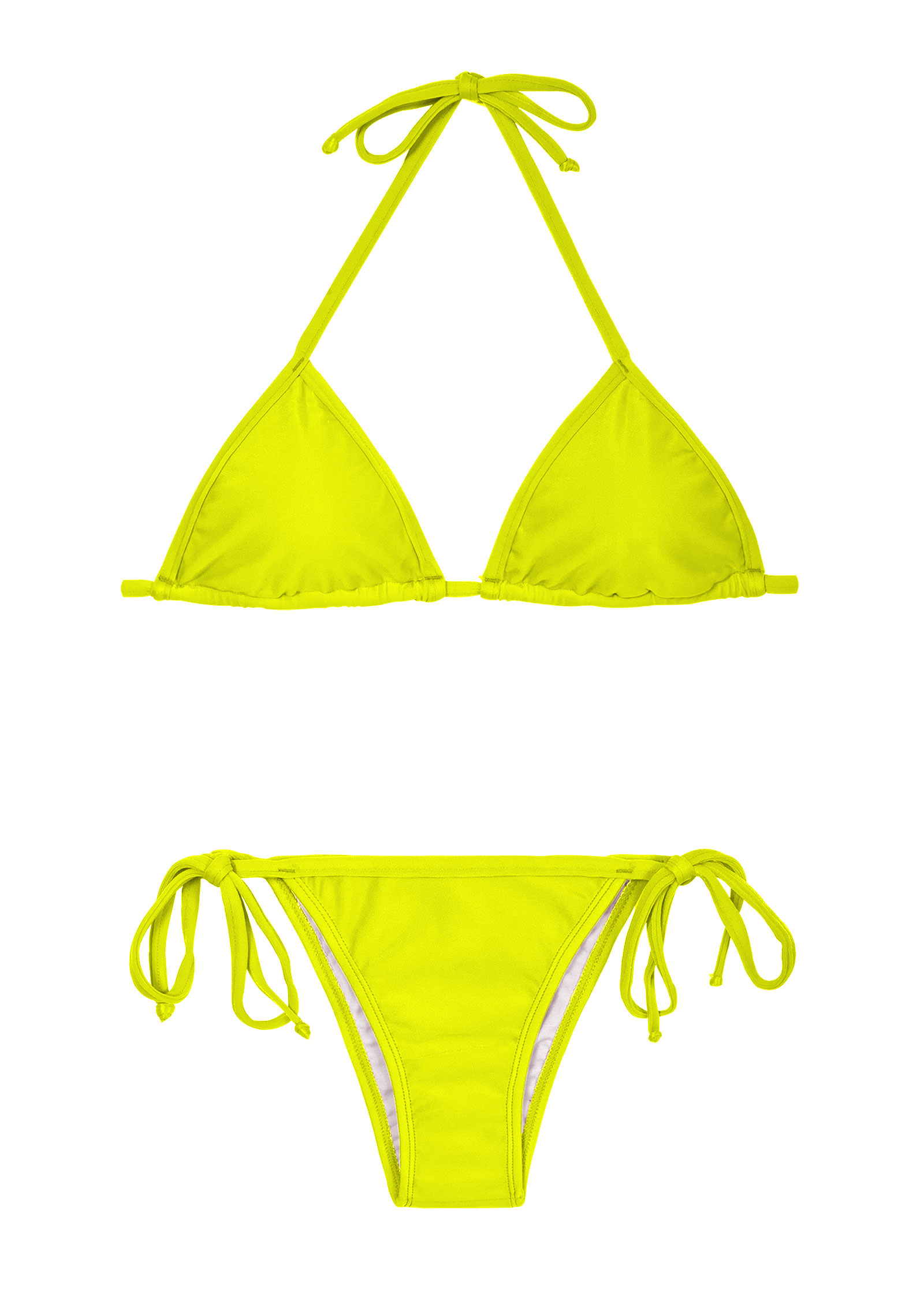 A Lime Yellow Triangle Bikini With Brazilian Bottoms