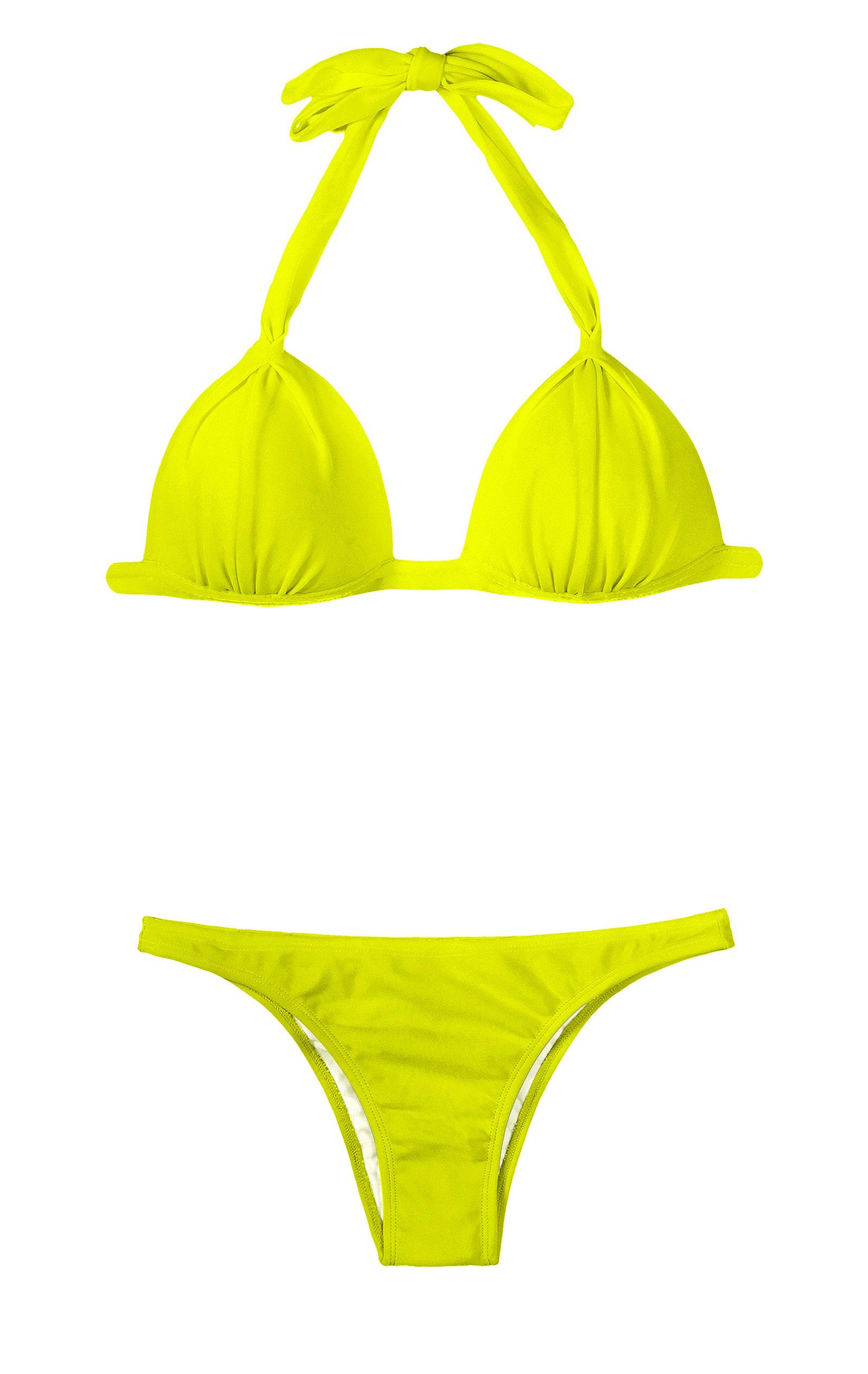 In yellow bikini