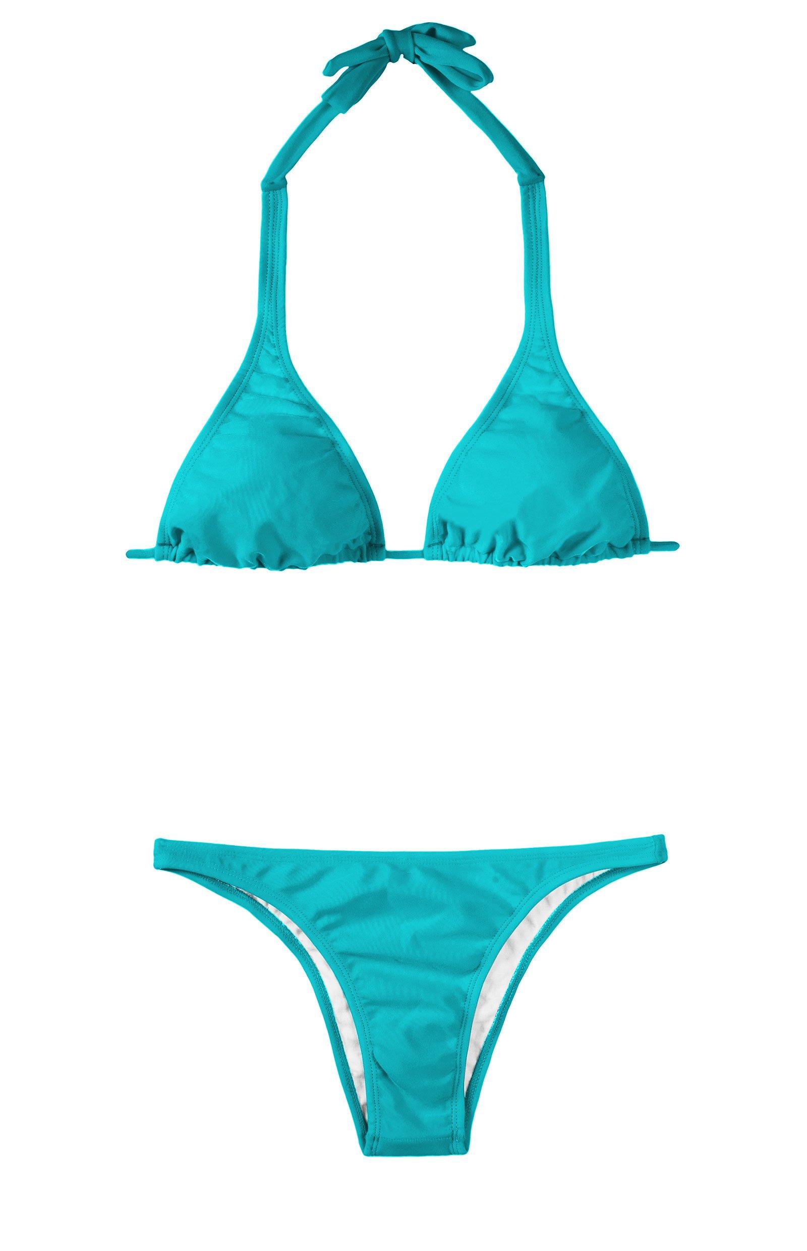 Brasilianischer Triangle-tuch-bikini, Blau - Tahiti Cortinao Basic
