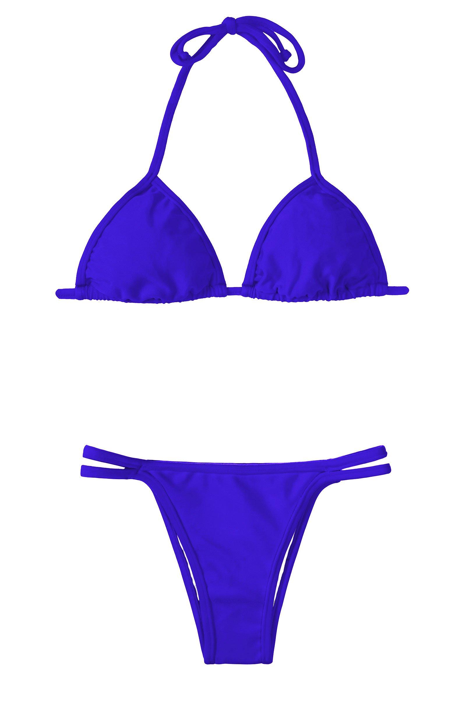 Rich Blue Triangle Bikini, Bottom With Double Fixed Ties - Zaffiro Cort Duo