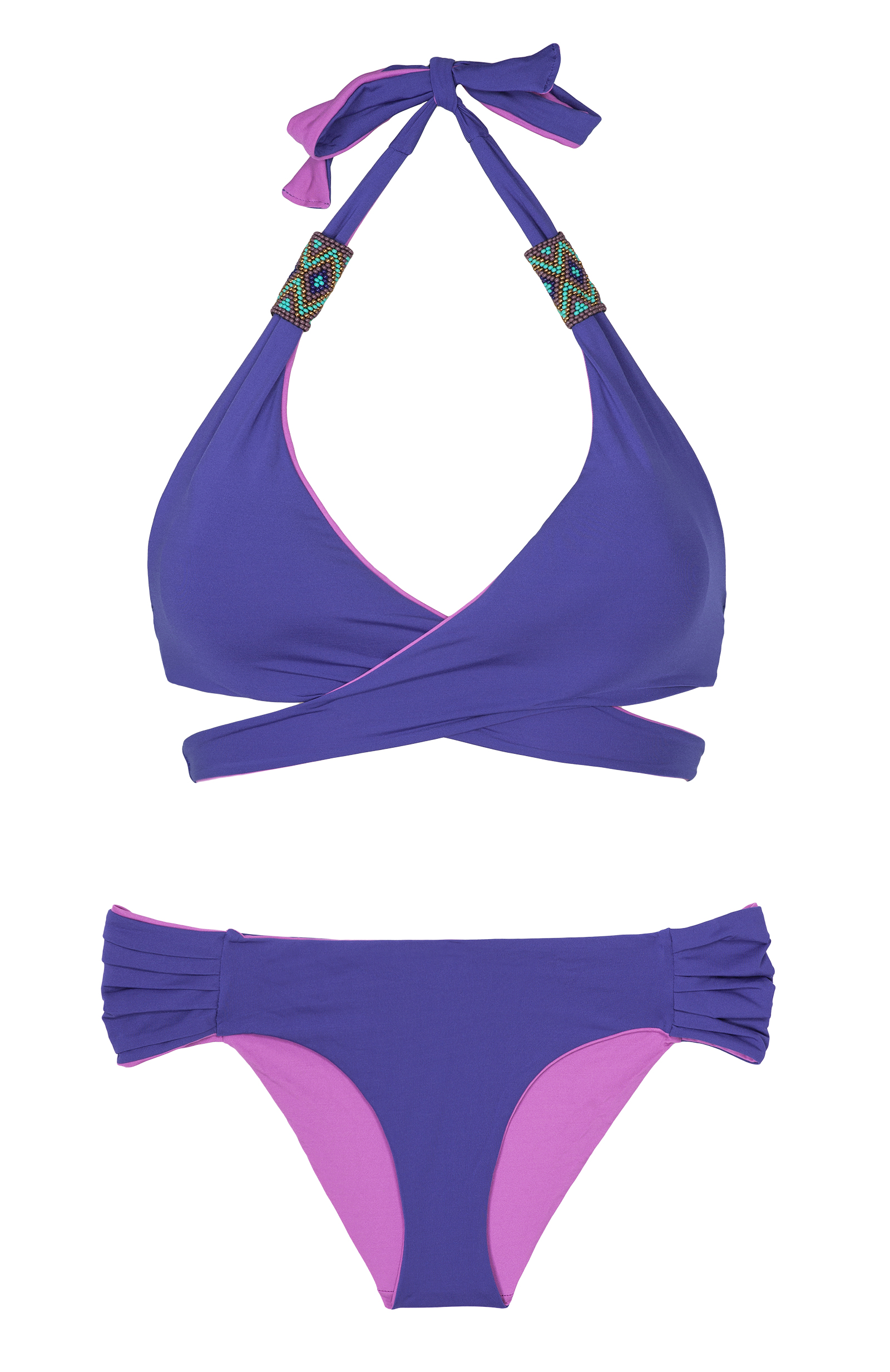 Purple Mood saha cross-over triangle bikini, reversible blue/purple - mood