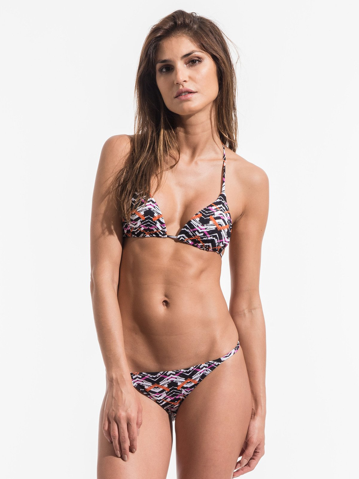 ... Triangel-Bikini mit grafischem Muster, nicht anpassbarer Unterteil mit schmalen  Seiten - FISHY ...