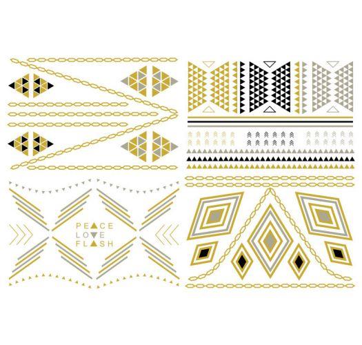Tatouages éphémères dorés, argentés et noirs DAKOTA